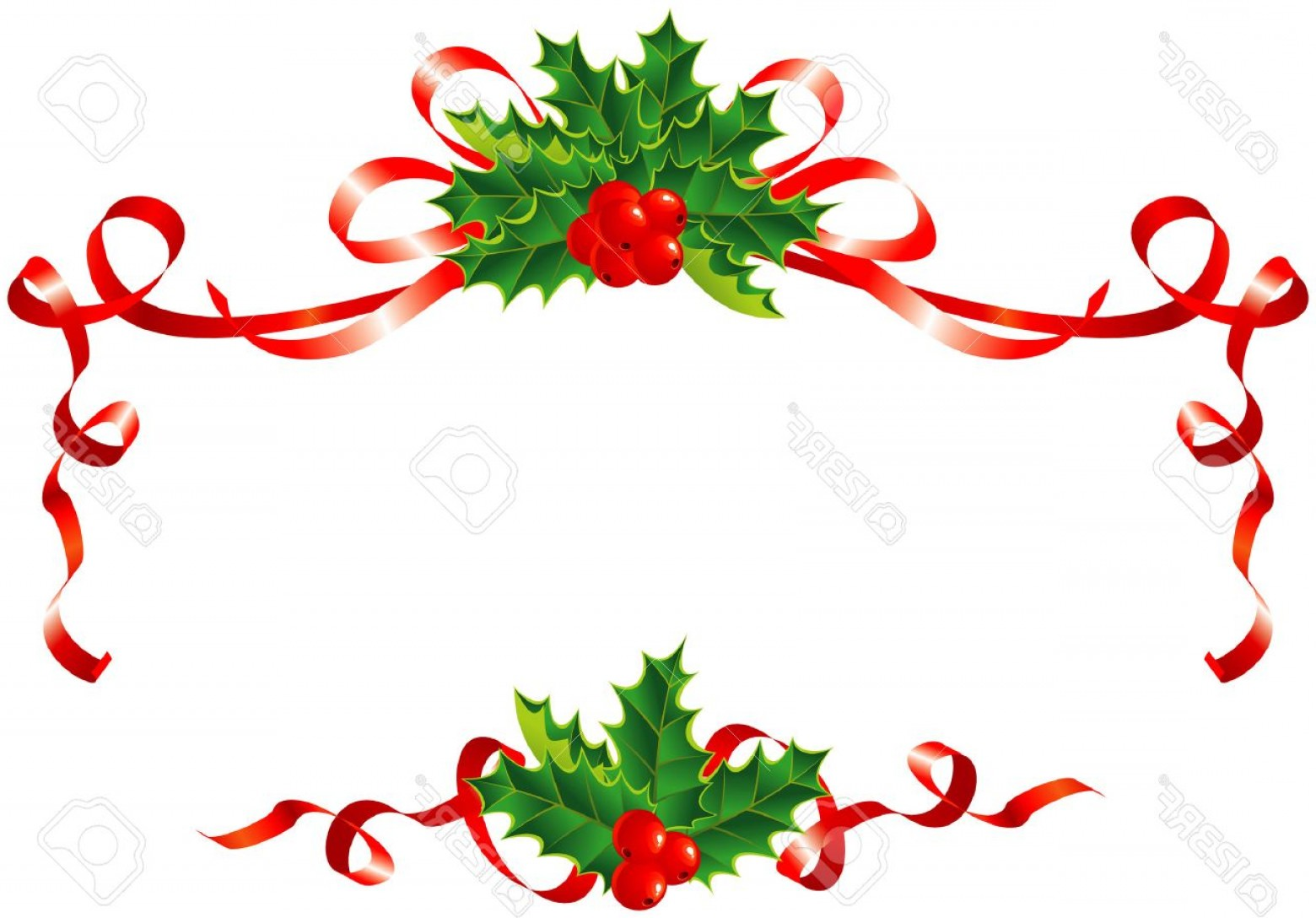 Christmas Holly Border Vector: Photochristmas Decoration Holly And Ribbons Border Vector Illustration