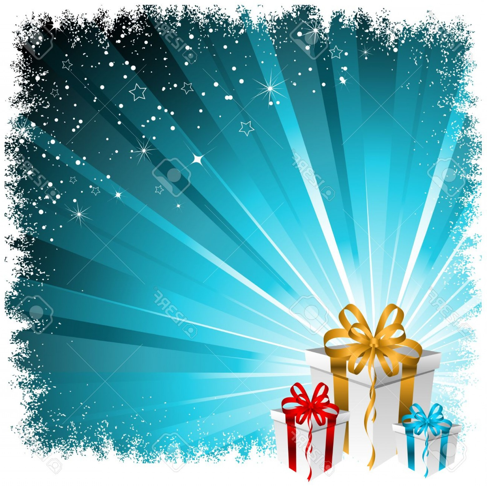 Vector Art Free Christmas Gift: Photochristmas Gift Background With Snowy Border