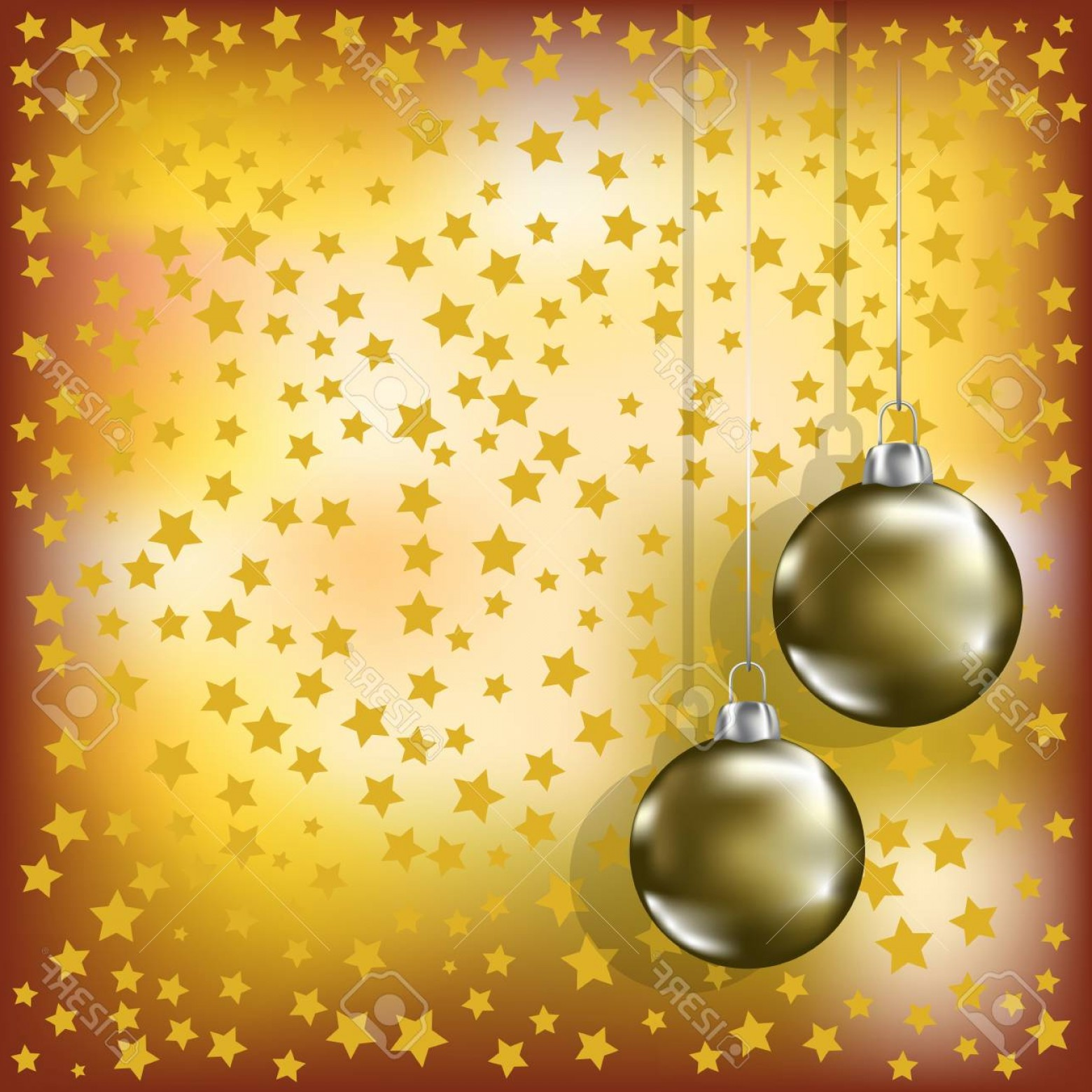 Stars Yellow Christmas Vector: Photochristmas Golden Balls And Stars Yellow Background