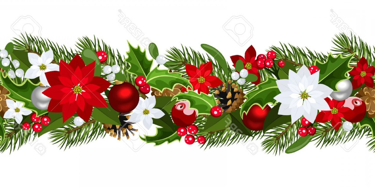 Christmas Horizontal Vector: Photochristmas Horizontal Seamless Background Vector Illustration