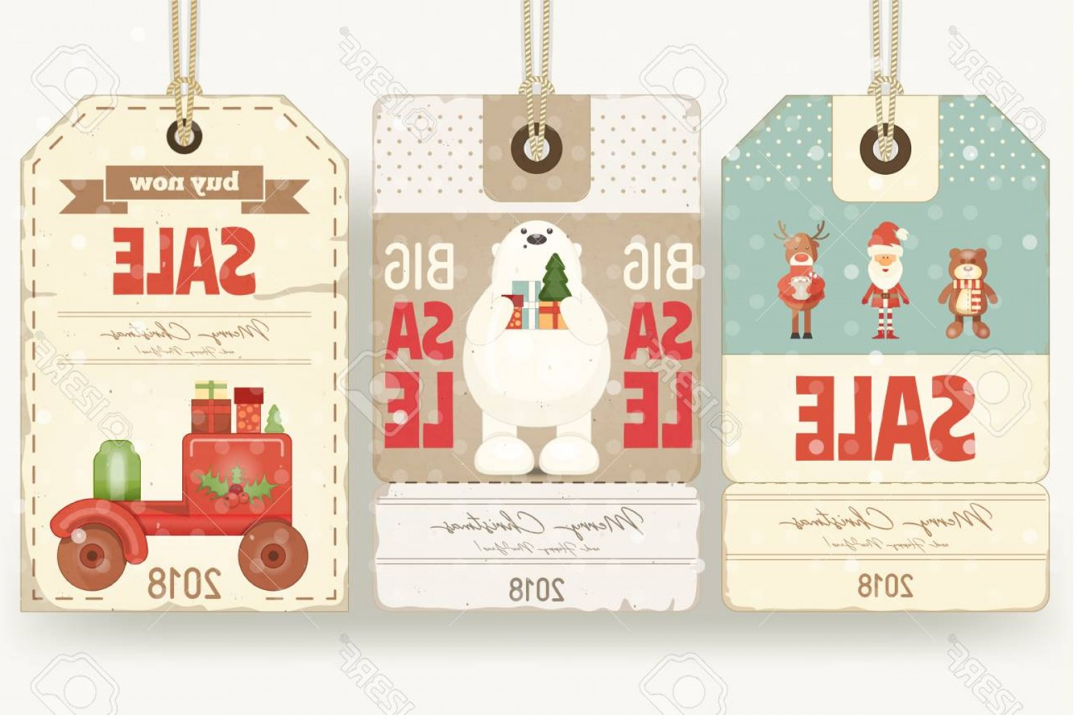 Vintage Xmas Sale Tag Vector: Photochristmas Sale Tags In Retro Style With Santa Claus And Xmas Characters Vector Illustration