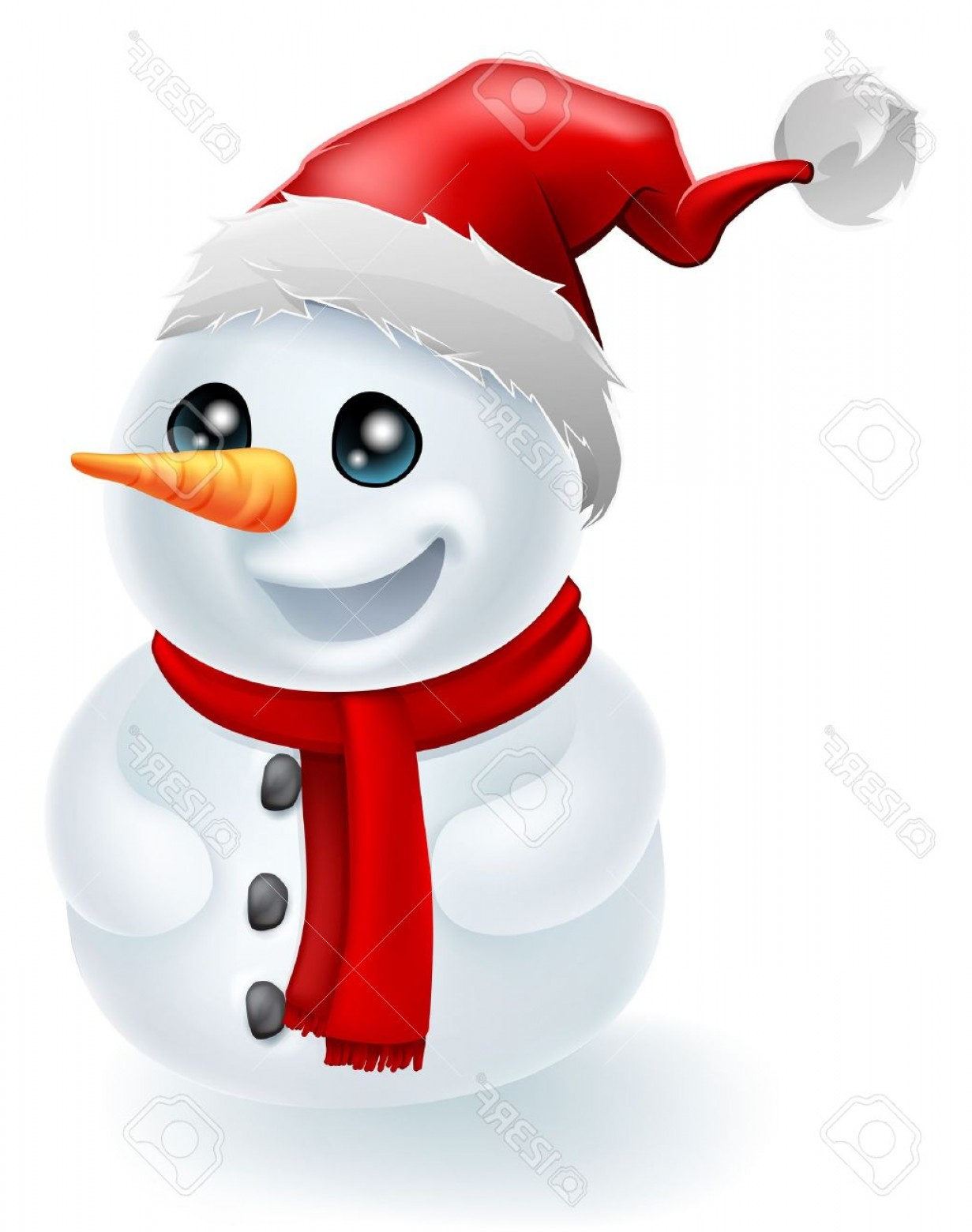 No Hat With Snowman Vector: Photochristmas Snowman Wearing A Santa Hat And Red Scarf