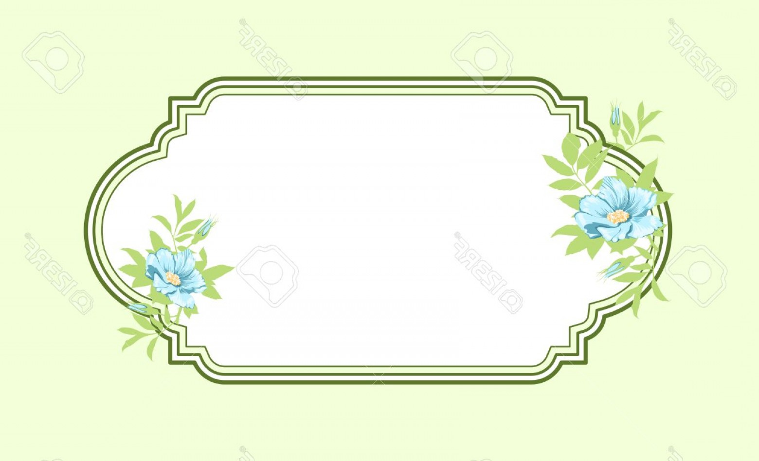 Green Oval Border Vector: Photoclassic Hand Drawn Oval Green Frame With Light Blue Roses