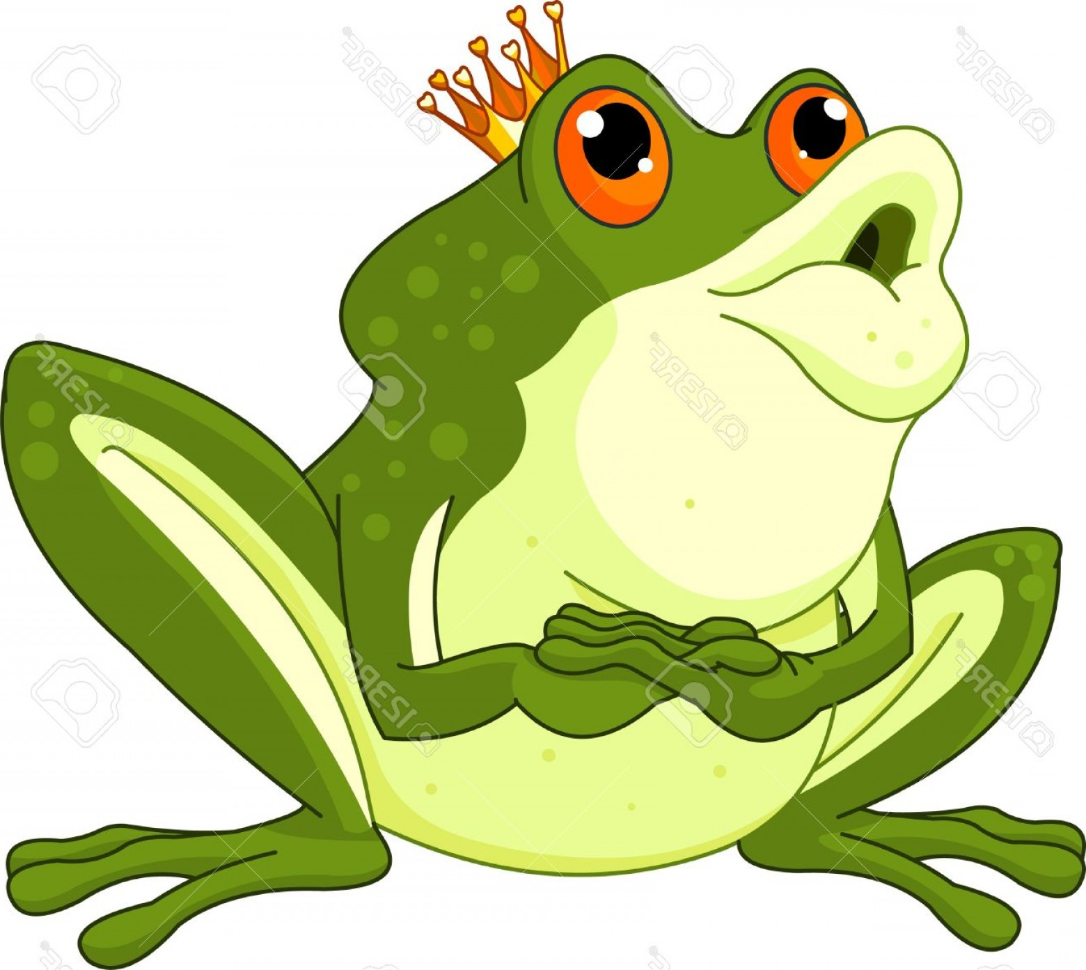 Kiss Clip Art Vector: Photoclip Art Of A Frog Prince Waiting To Be Kissed