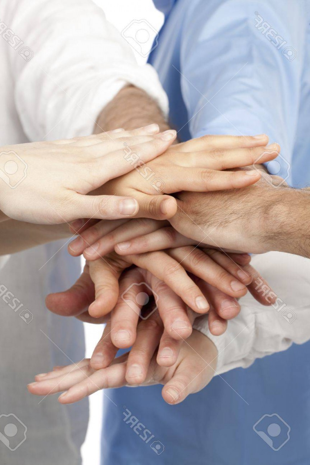 Vector Group Of Hands Overlapped: Photoclose Up Image Of Group Of Business People Overlapping Hands