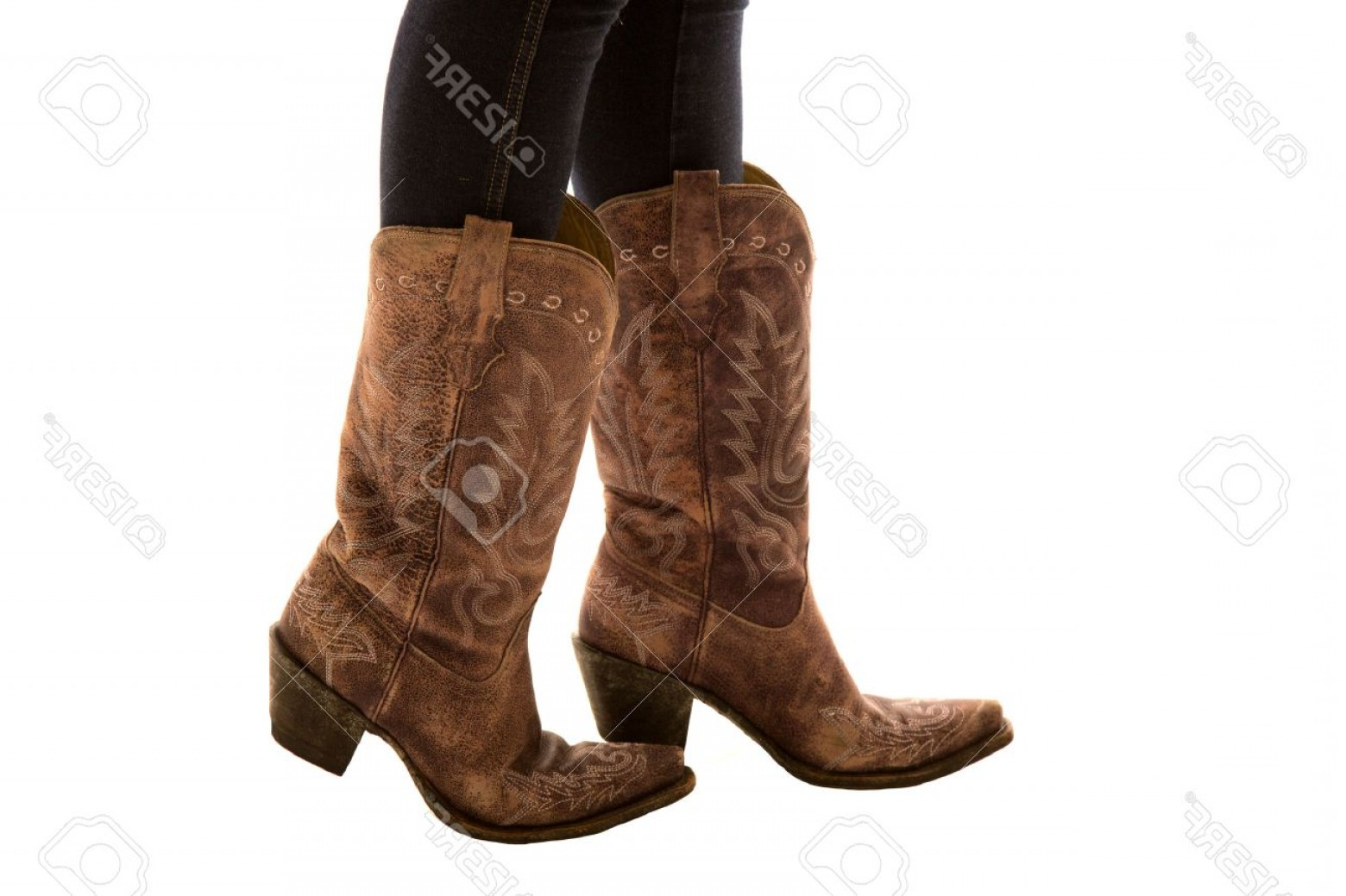 Two Cowgirl Boots Vector: Photoclose Up Of Pair Of Cowboy Boots