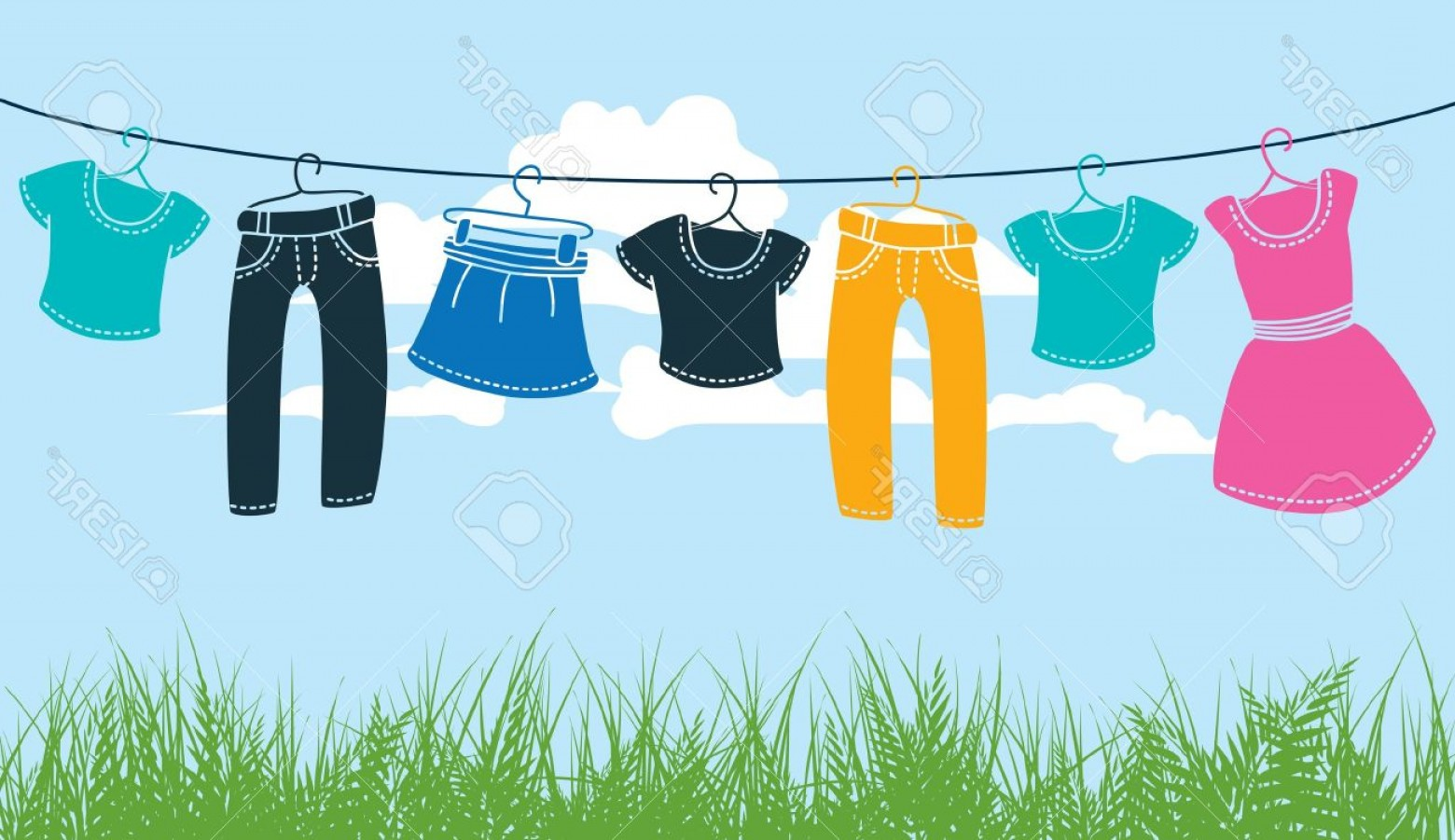 Clothes For Washing Vector: Photoclothes On Washing Line Against Blue Sky And Green Grass