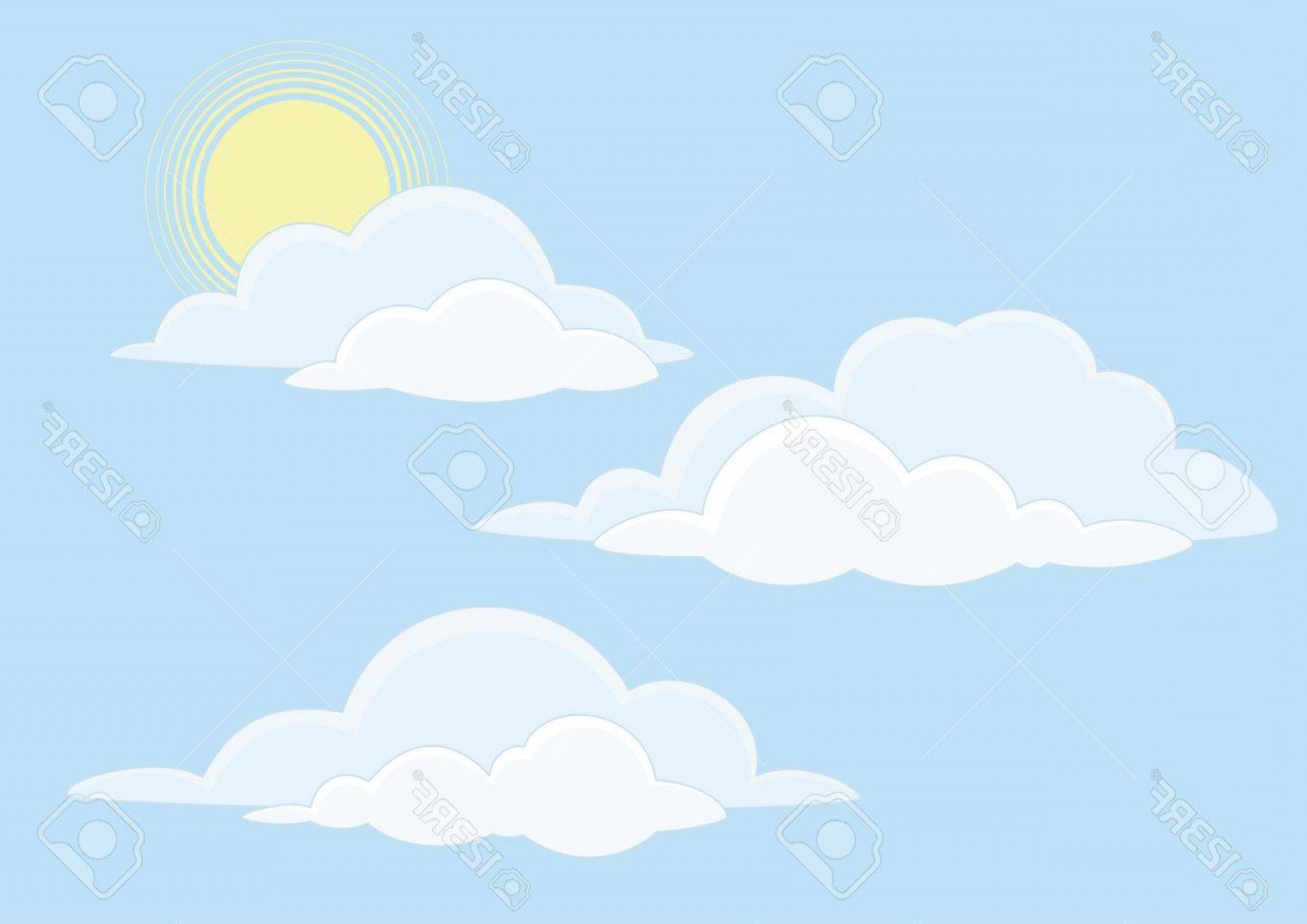 Blue Background Vector Cartoon Sun: Photocloudscape Background White Clouds And Sun On Blue Sky