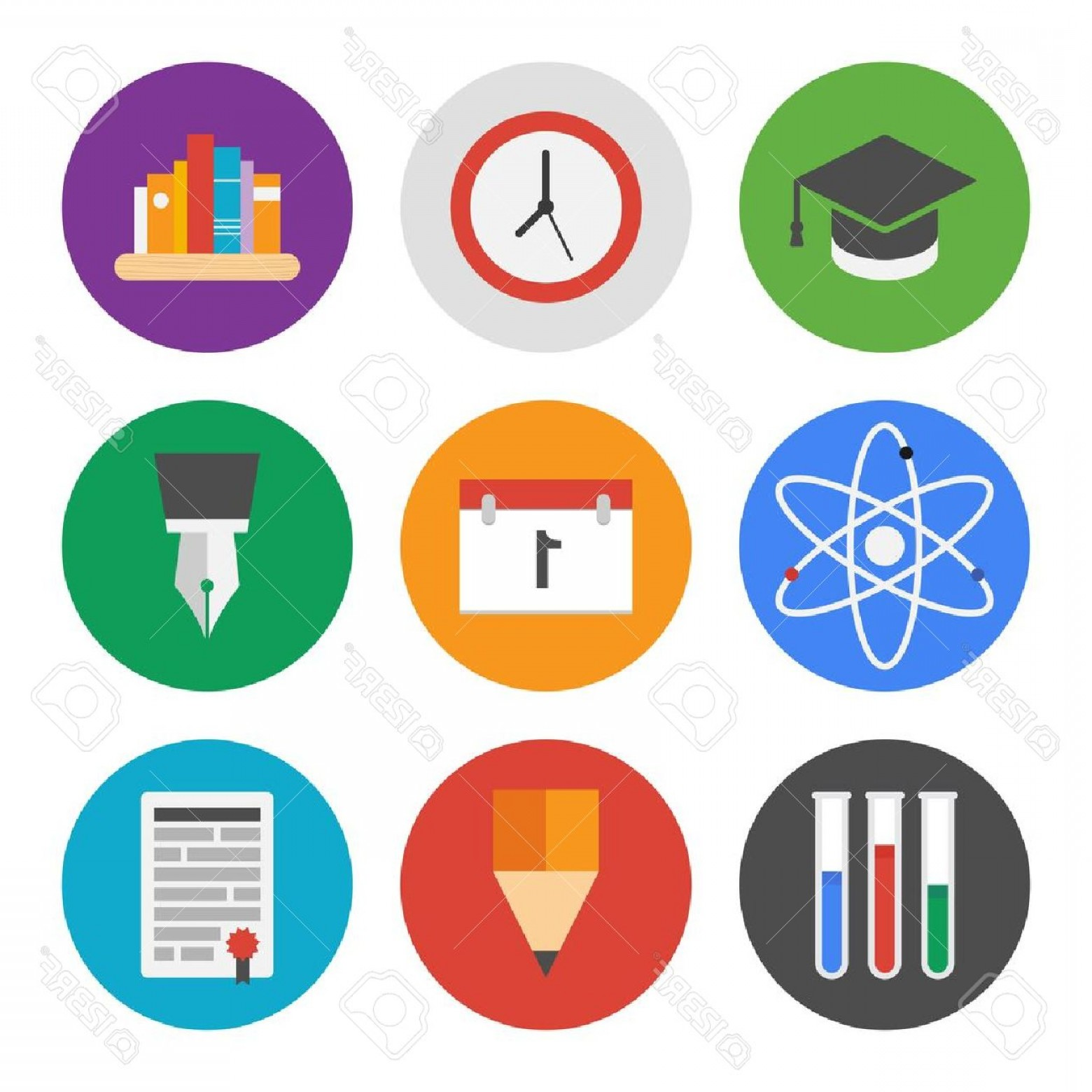 Free Vector Flat Education Icons: Photocollection Of Colorful Vector Icons In Modern Flat Design Style On Knowledge And Education Theme Iso