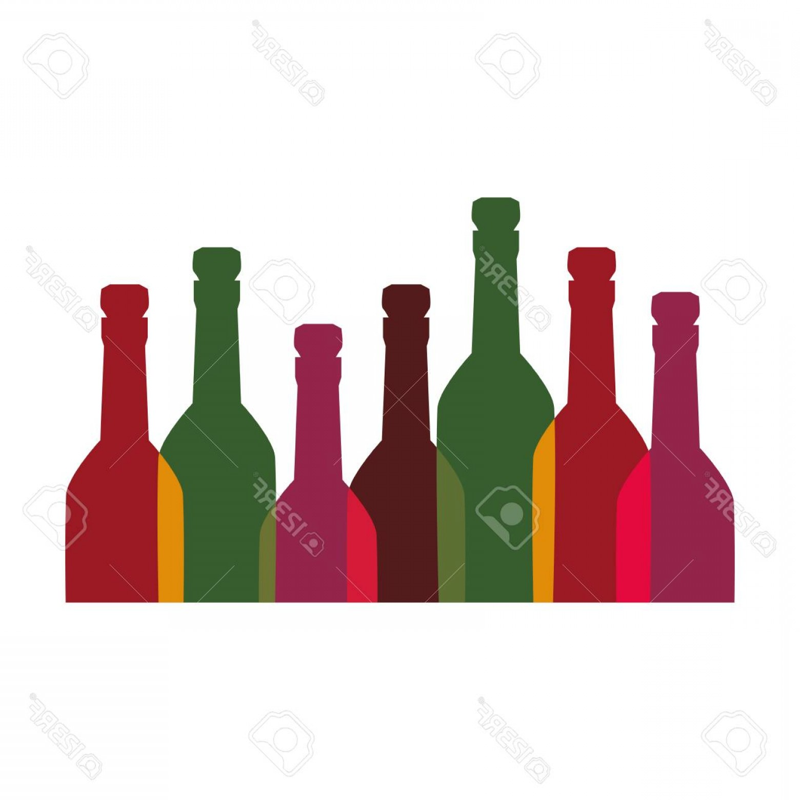 Booze Bottle Vector: Photocolor Background With Set Of Liquor Bottles Vector Illustration