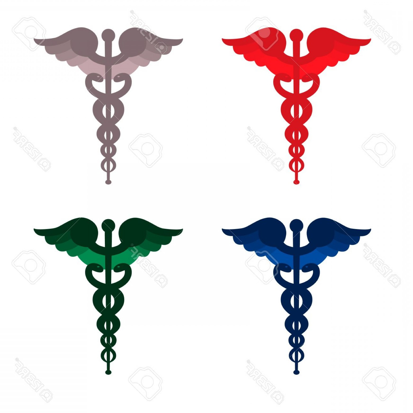 With Red Caduceus Vector: Photocolor Caduceus Symbols Red Blue Grey And Green