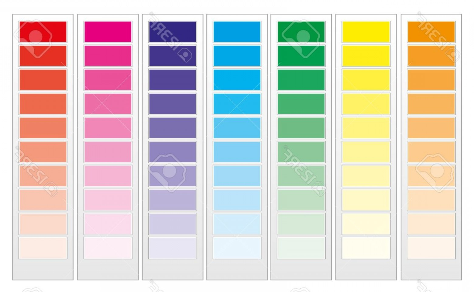 Color CMYK Chart Vector Free: Photocolor Guide Chart Cmyk Rainbow Background