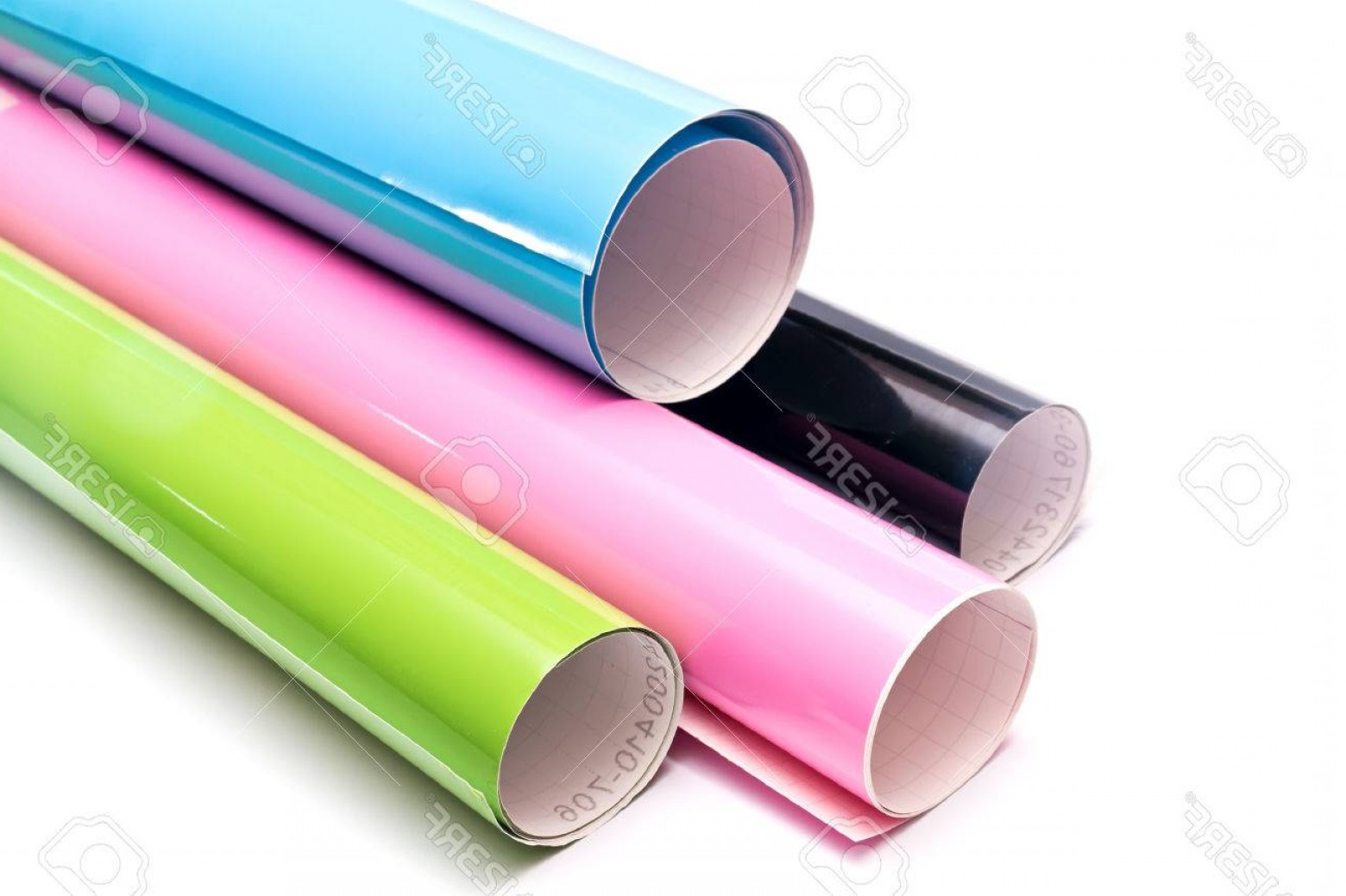 Vector Vinyl Rolls: Photocolored Vinyl Rolls Isolated On White Background