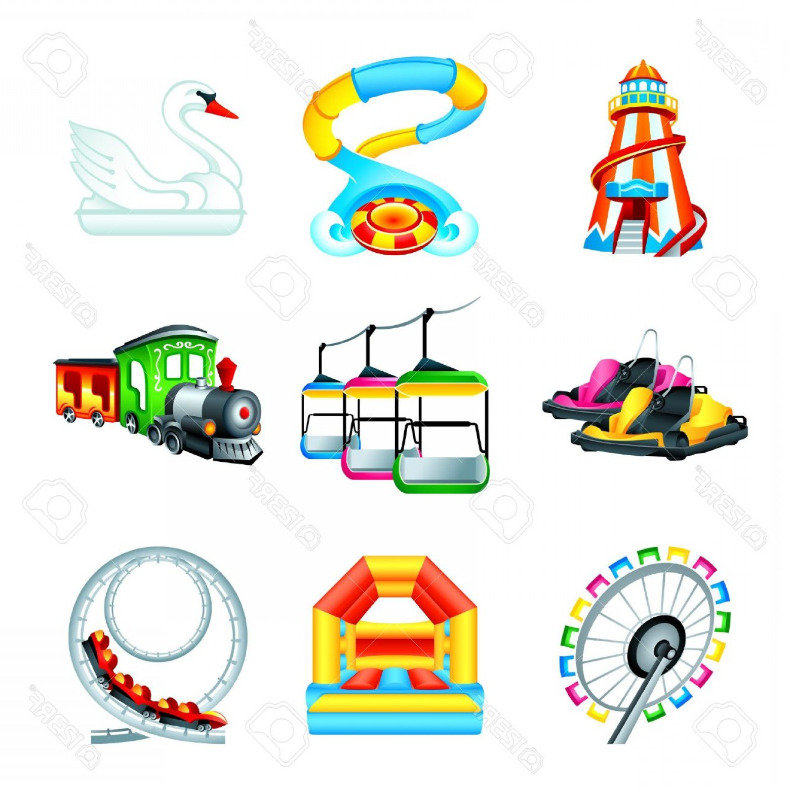Attraction Icon Vector: Photocolorful Amusement Park Or Funfair Attraction Icons