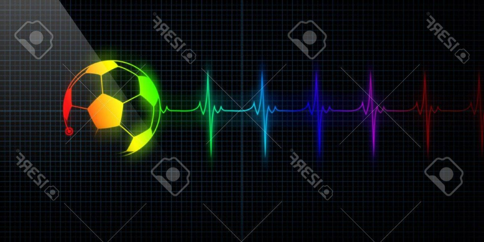 Soccer Ball Heart Beat Vector: Photocolorful Horizontal Pulse Trace Heart Monitor With A Soccer Ball In Line Concept For Sports Medicine