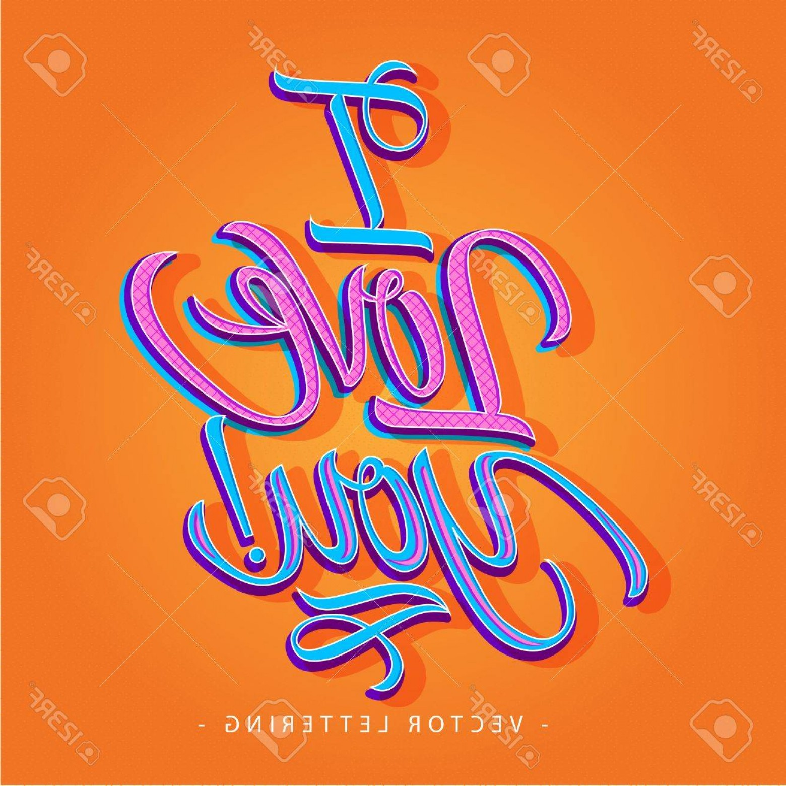 I Love You Mark Vector: Photocolorful I Love You Inscription With Exclamation Mark Isolated On Orange Background