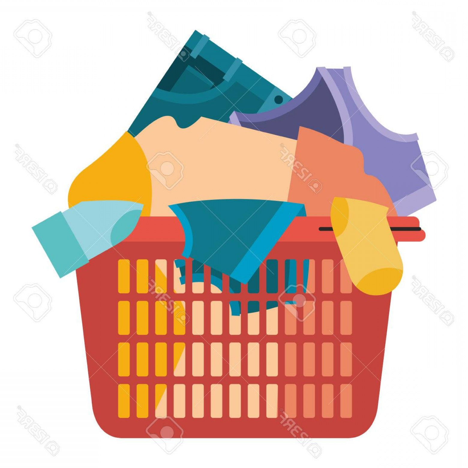 Clothes For Washing Vector: Photocolorful Silhouette Of Laundry Basket With Heap Of Clothes Vector Illustration