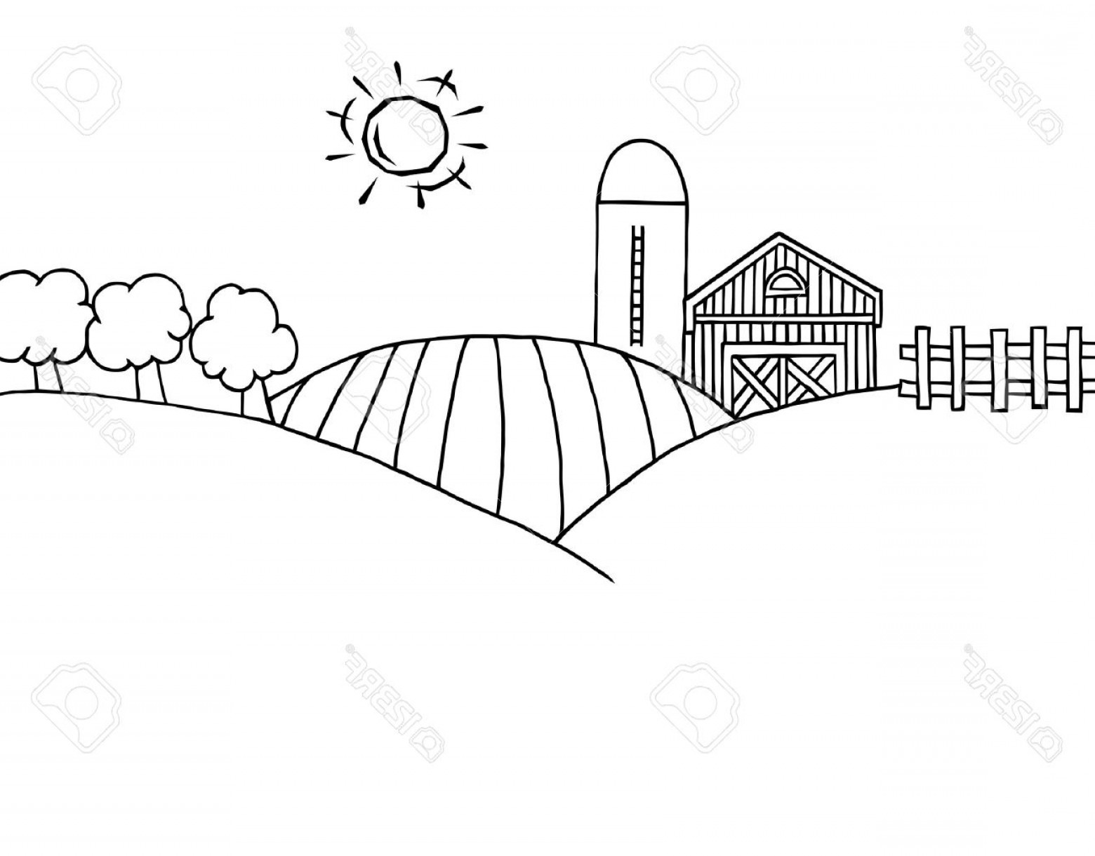 Barn Outline Vector: Photocoloring Page Outline Of Rolling Hills A Farm And Silo On Farm Land