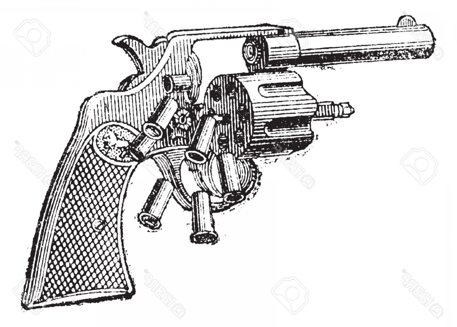 Vector Old Colt Revolvers: Photocolt Revolver Vintage Engraved Illustration Dictionary Of Words And Things Larive And Fleury