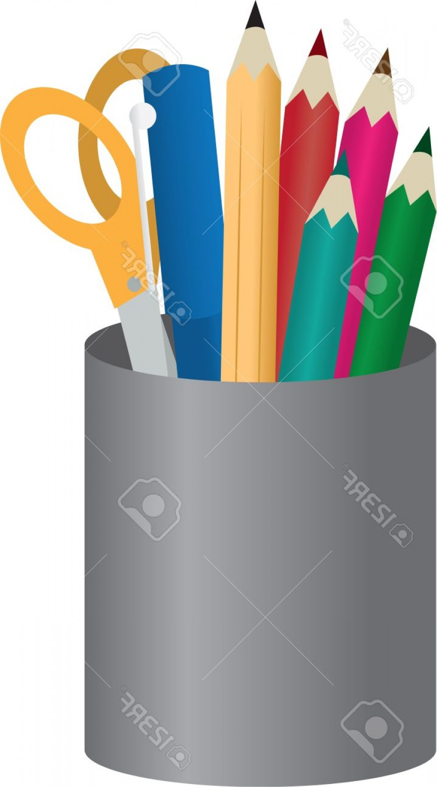 Vector Pencil Holder: Photocontainer With Colored Pencils Pens And Scissors