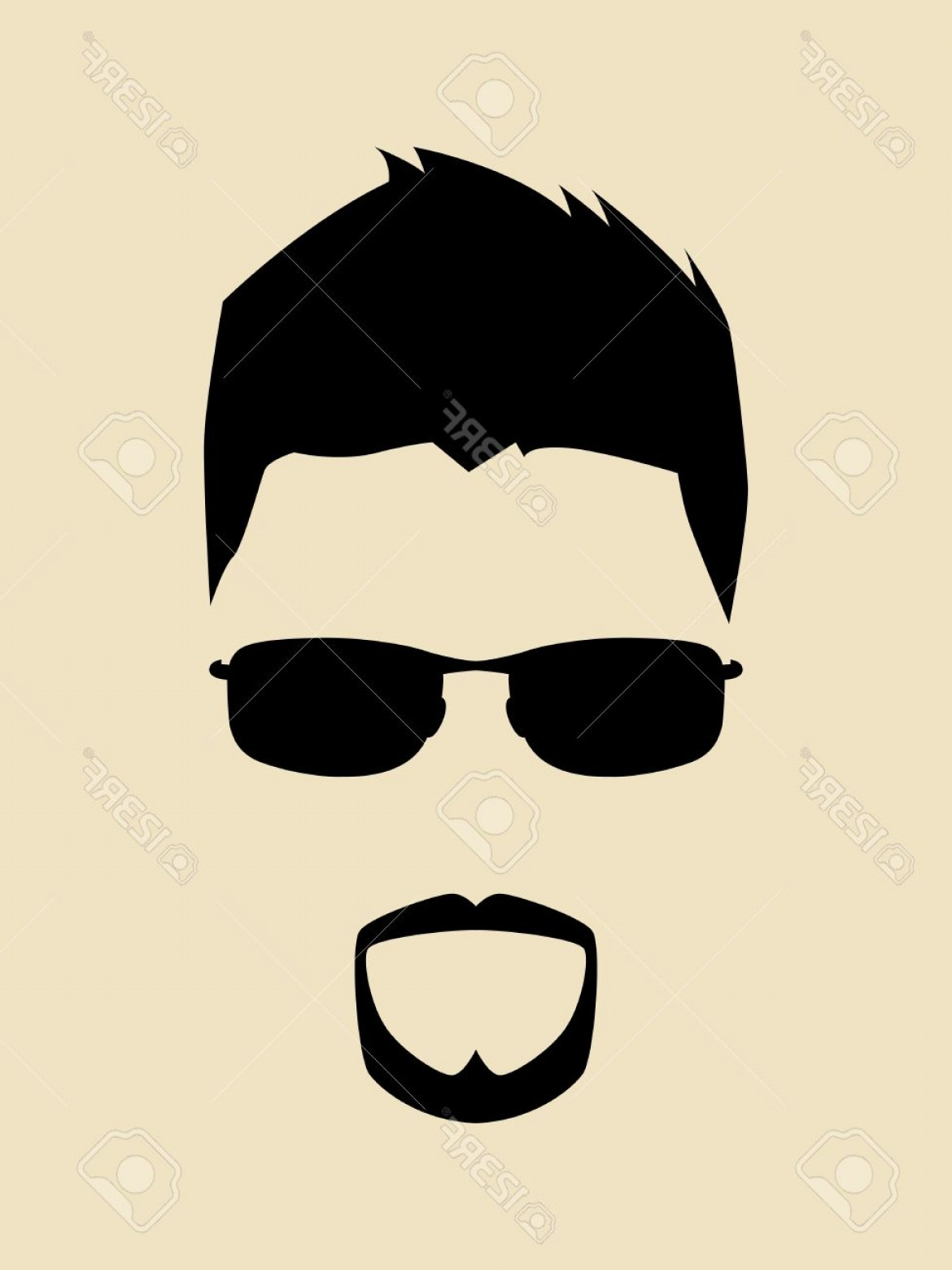 Beard Vector Manga Avatar: Photocool Man With Beards And Mustache Wearing A Sunglasses