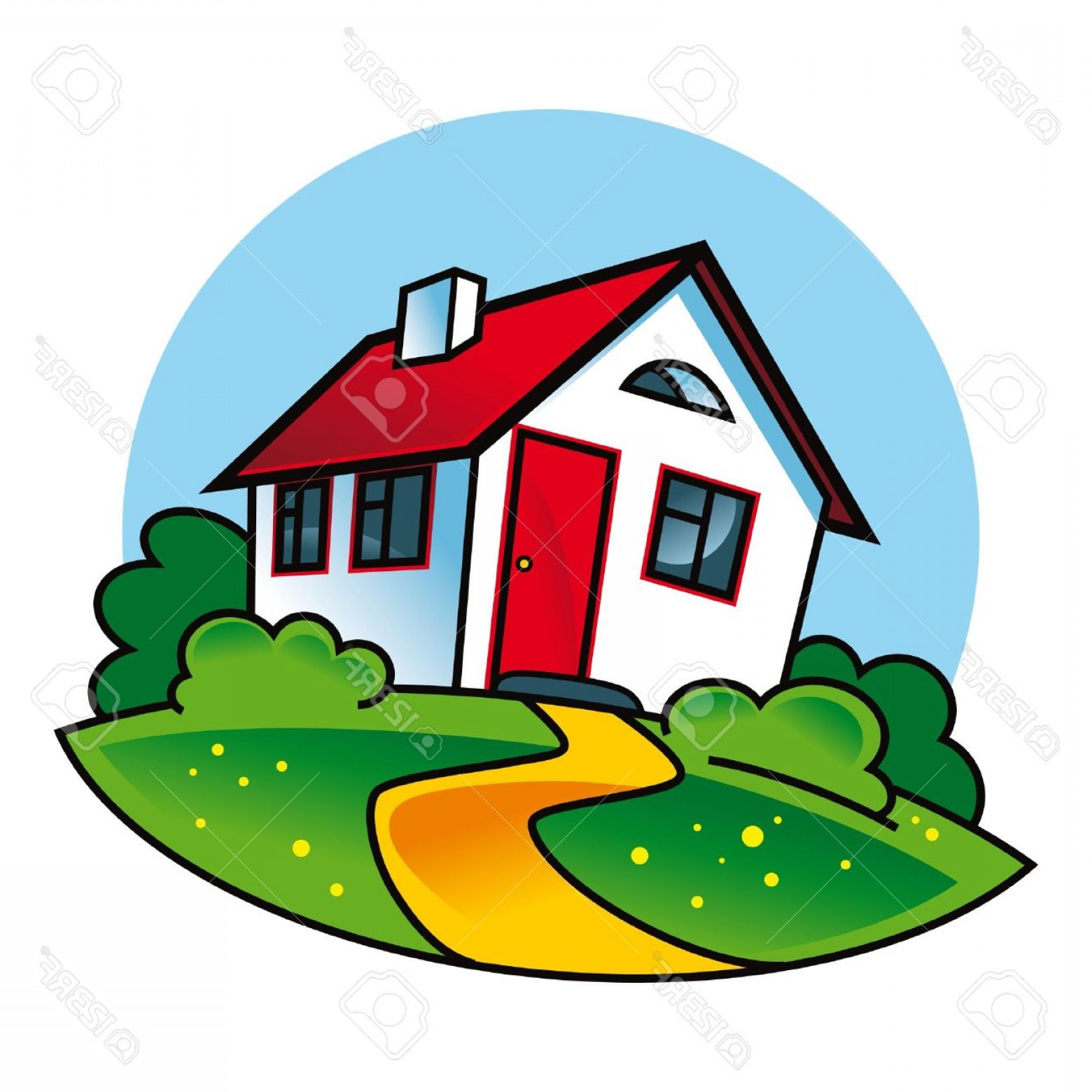 House Clip Art Vector: Photocountry House Architecture Building Village Apartment Nature