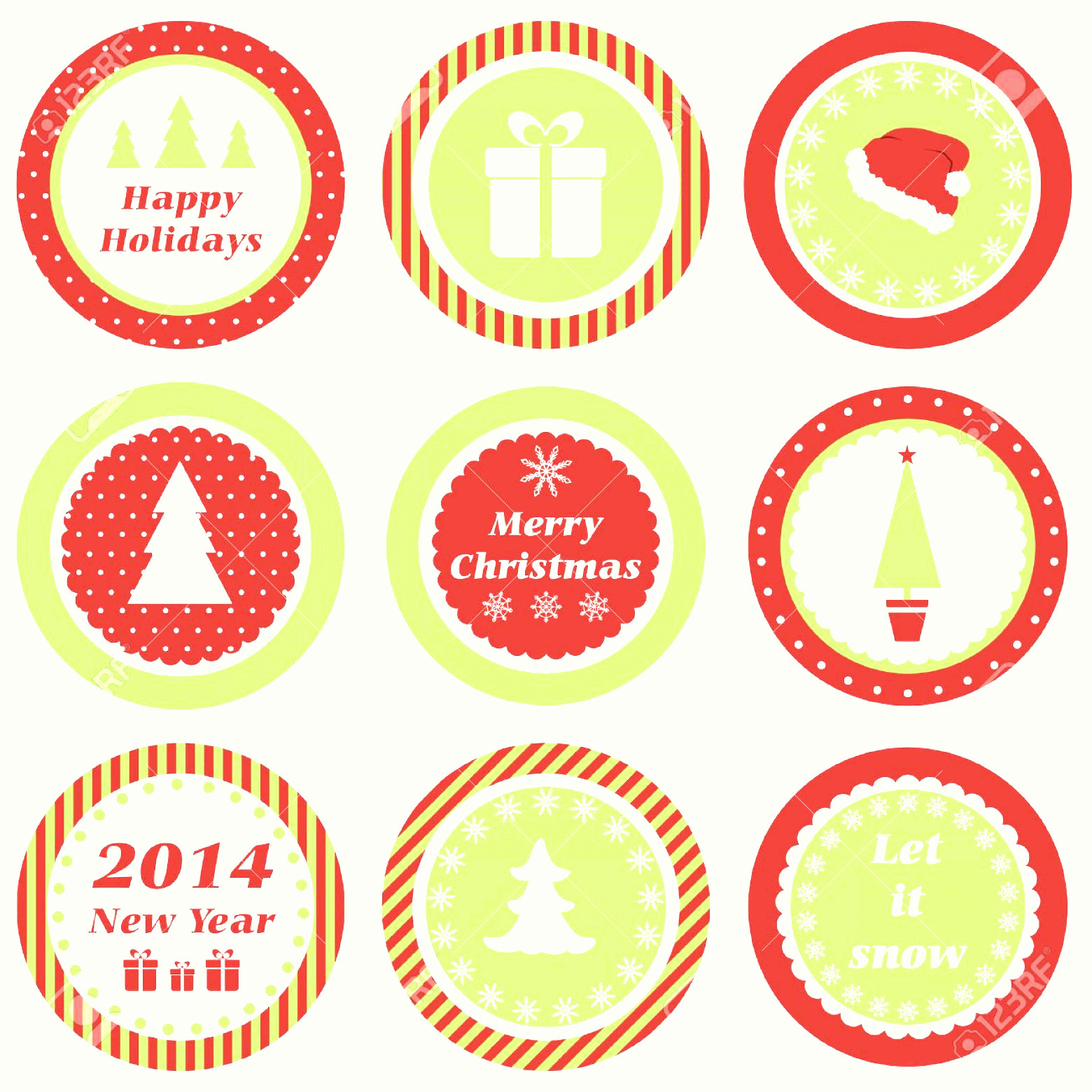Vector Christmas Toppers: Photocupcake Toppers For Christmas And New Year