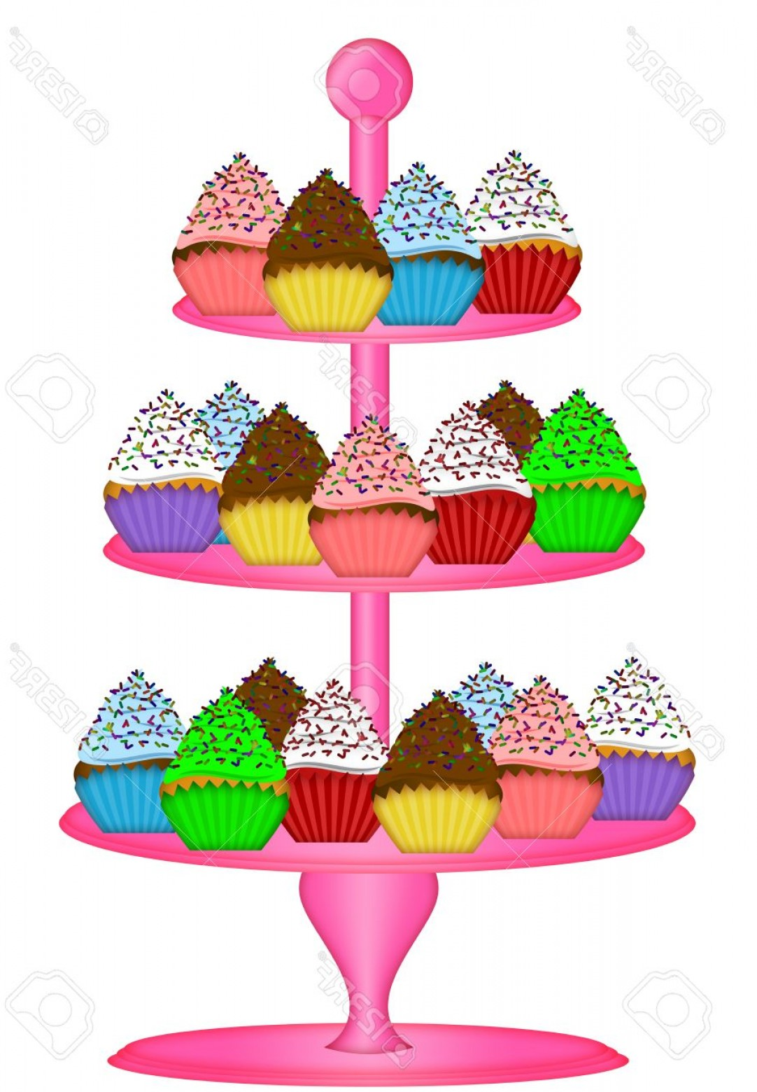 Vector 3 Tier Tray: Photocupcakes On Pink Three Tier Cake Stand Illustration Isolated On White Background