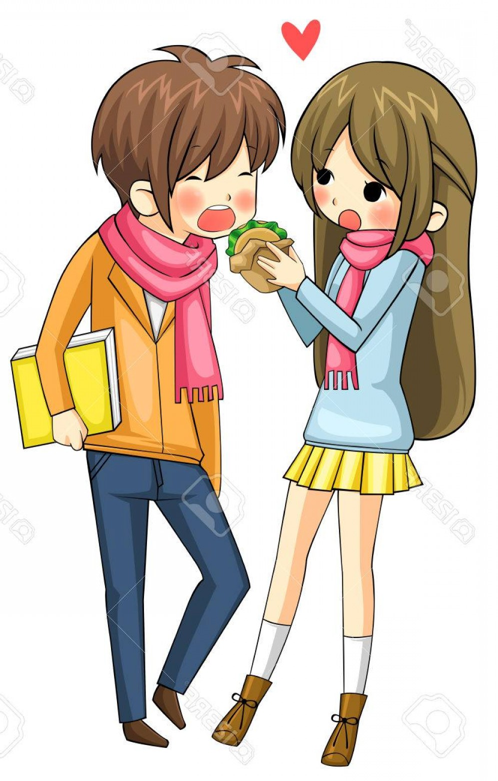 Bond Girls Vector: Photocute Girl Is Feeding Hamburger To Her Boyfriend In White Background Create By Vector