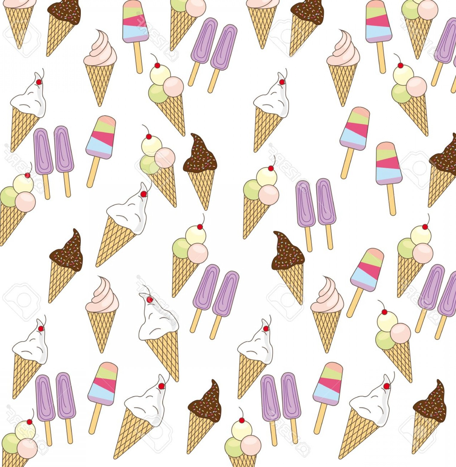 Vector Background Clip Art: Photocute Ice Cream Over White Background Vector Illustration