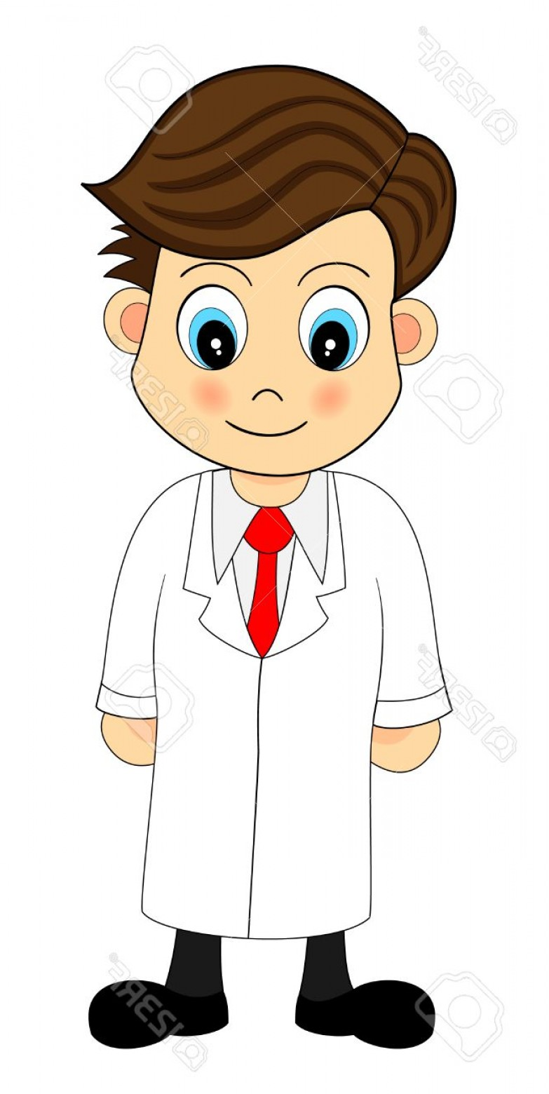 Lab Coat Cartoon Vector: Photocute Looking Cartoon Illustration Of A Scientist In Lab Coat