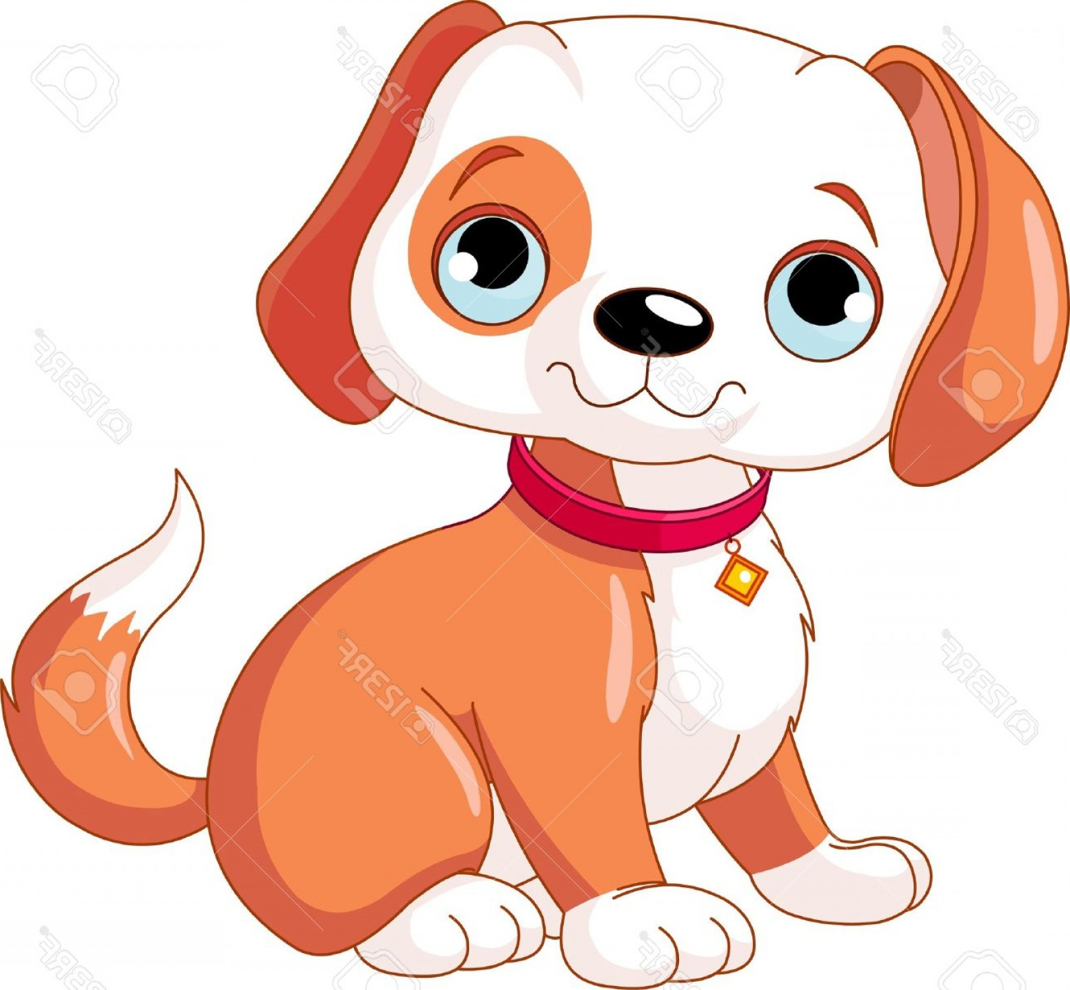 Bone Shaped Dog Tags Vector Art: Photocute Puppy Wearing A Red Collar With A Dog Tag