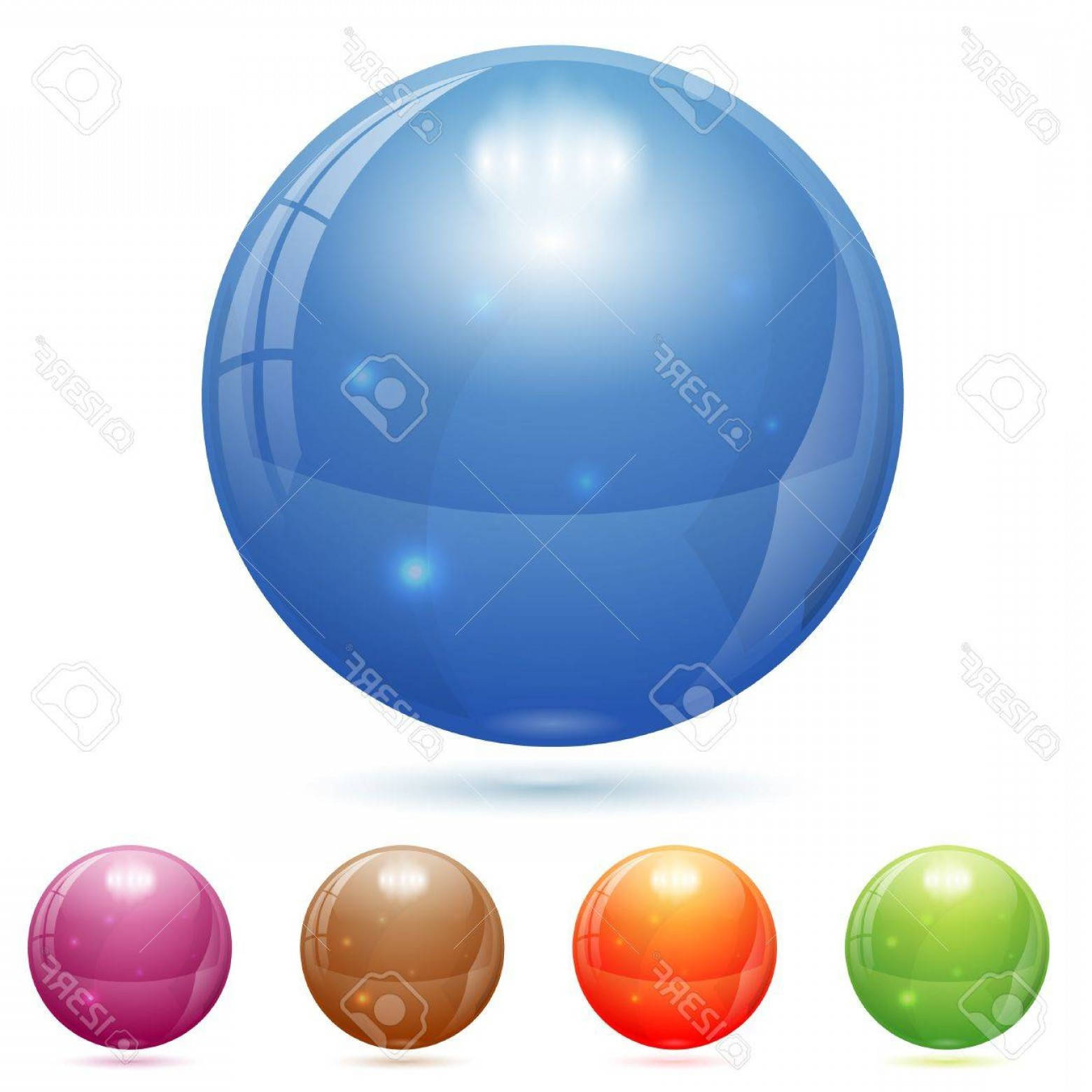 Vector Sphere Marble: Photod Glass Marble Ball In Different Colors Isolated On White Vector