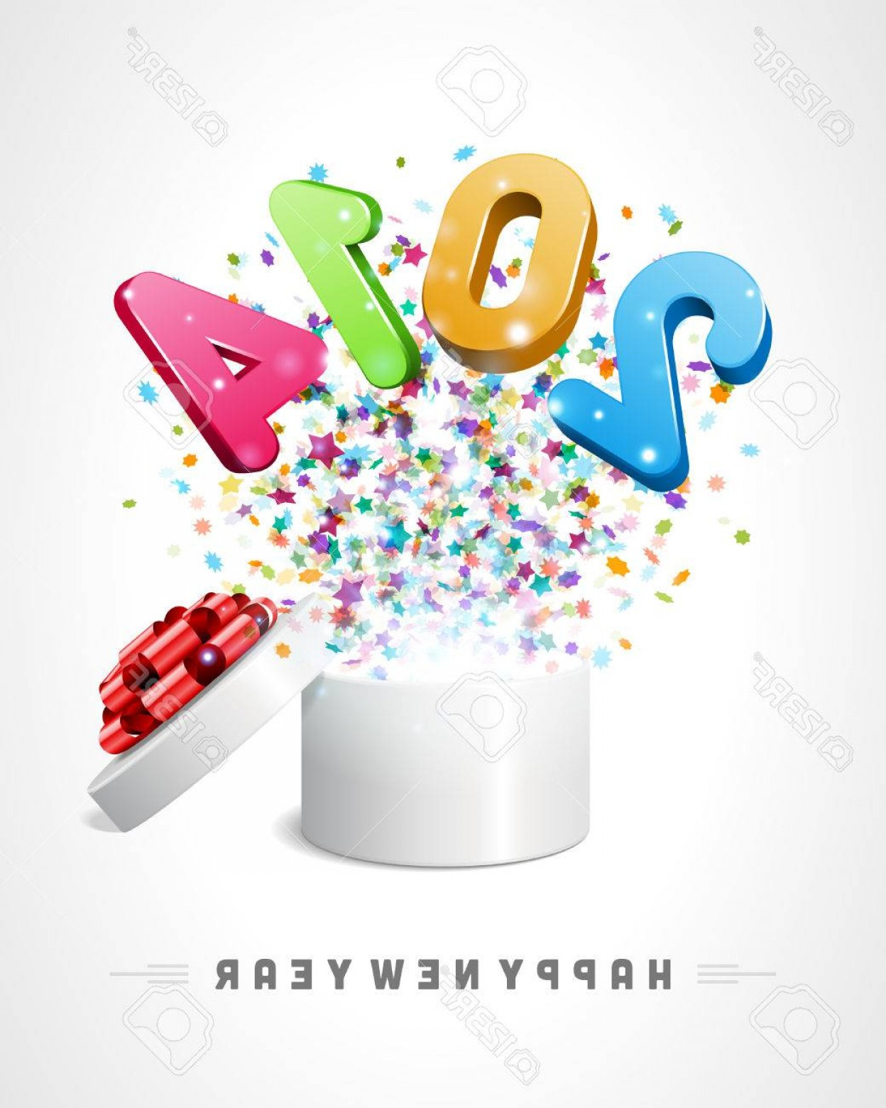 Vector 3D 2014: Photod Happy New Year D Message Fly From Open Box Vector Background Eps