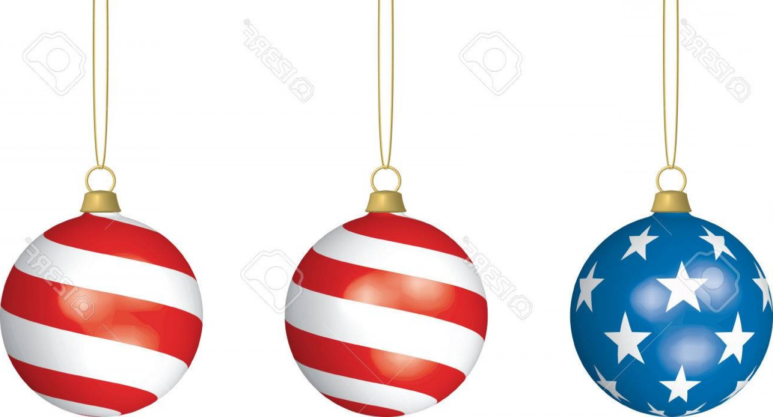 3 Glass Christmas Bulb Vector: Photod Illustration Of Three American Flag Themed Christmas Bulbs Hanging From Thin Strings On White Bac