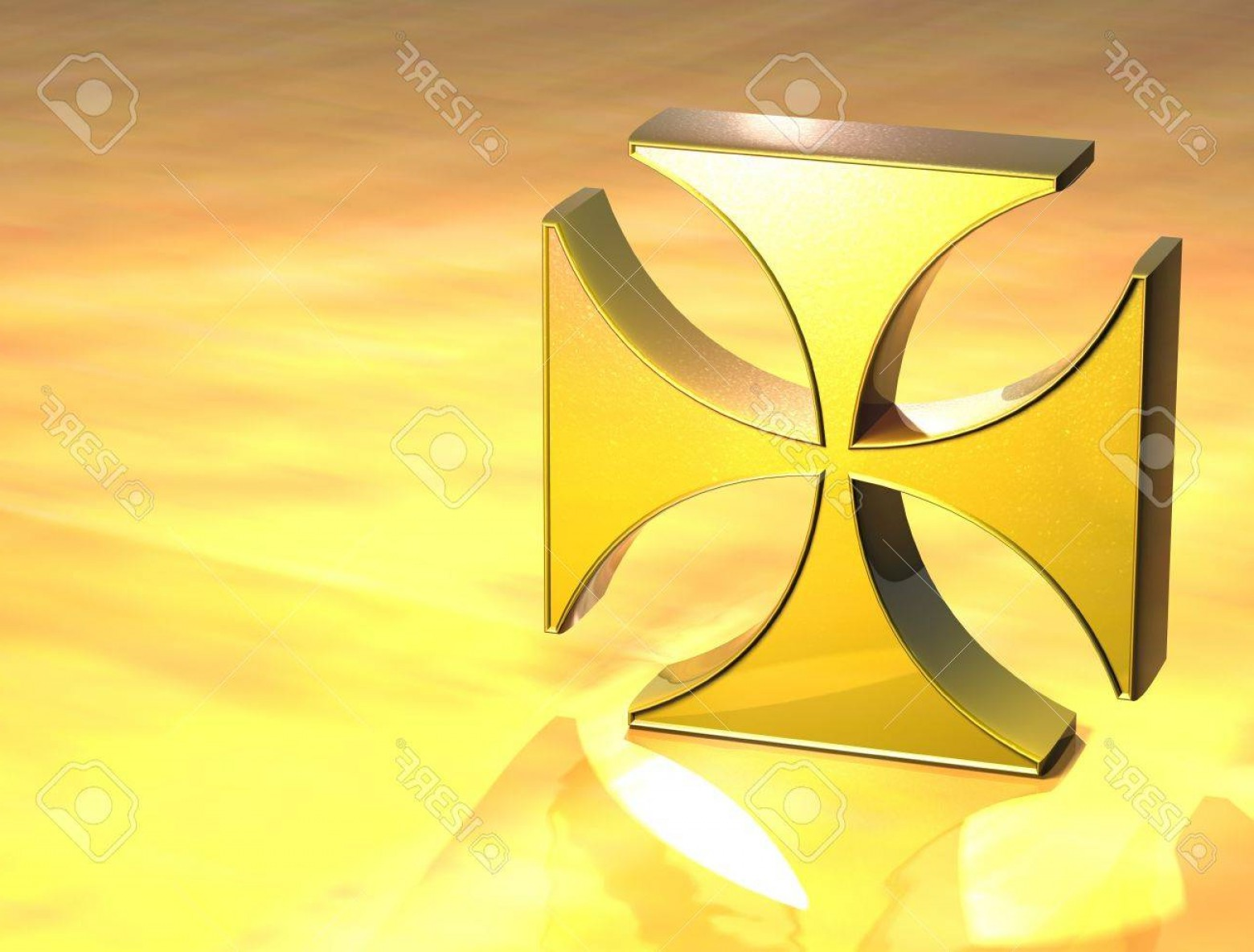 Maltese Cross Solid Vector: Photod Maltese Cross Gold Sign Over Yellow Background