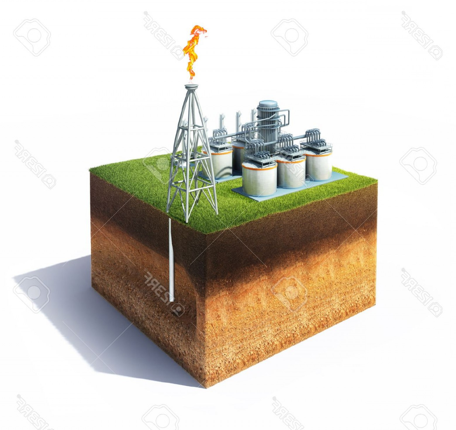 Oilfield Vector Crosses: Photod Model Of Cross Section Of Ground With Grass And Oil Or Gas Refinery With Smokestack Emitting A Bu