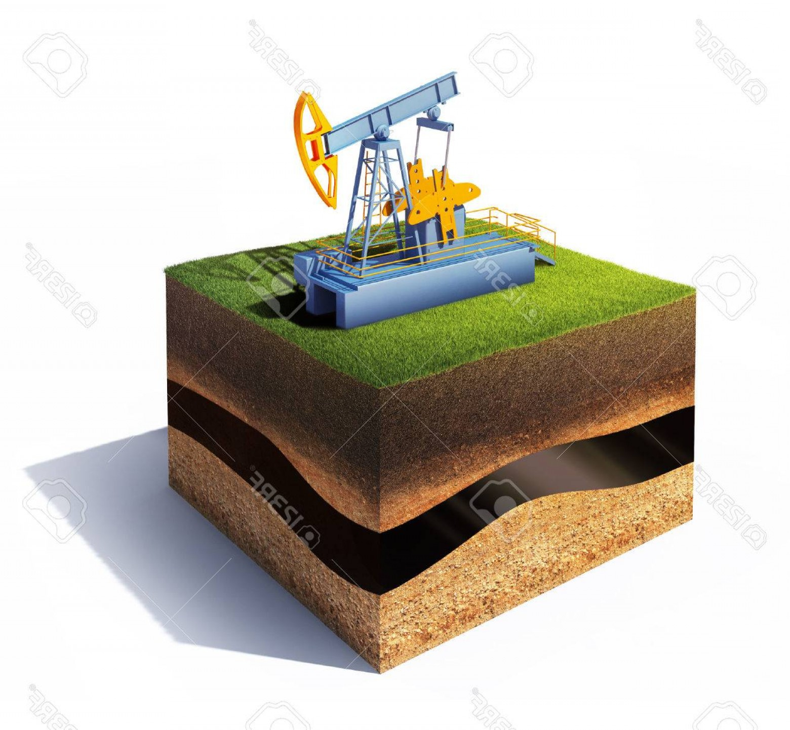 Oilfield Vector Crosses: Photod Model Of Cross Section Of Ground With Grass And Oil Pump Jack Isolated On White