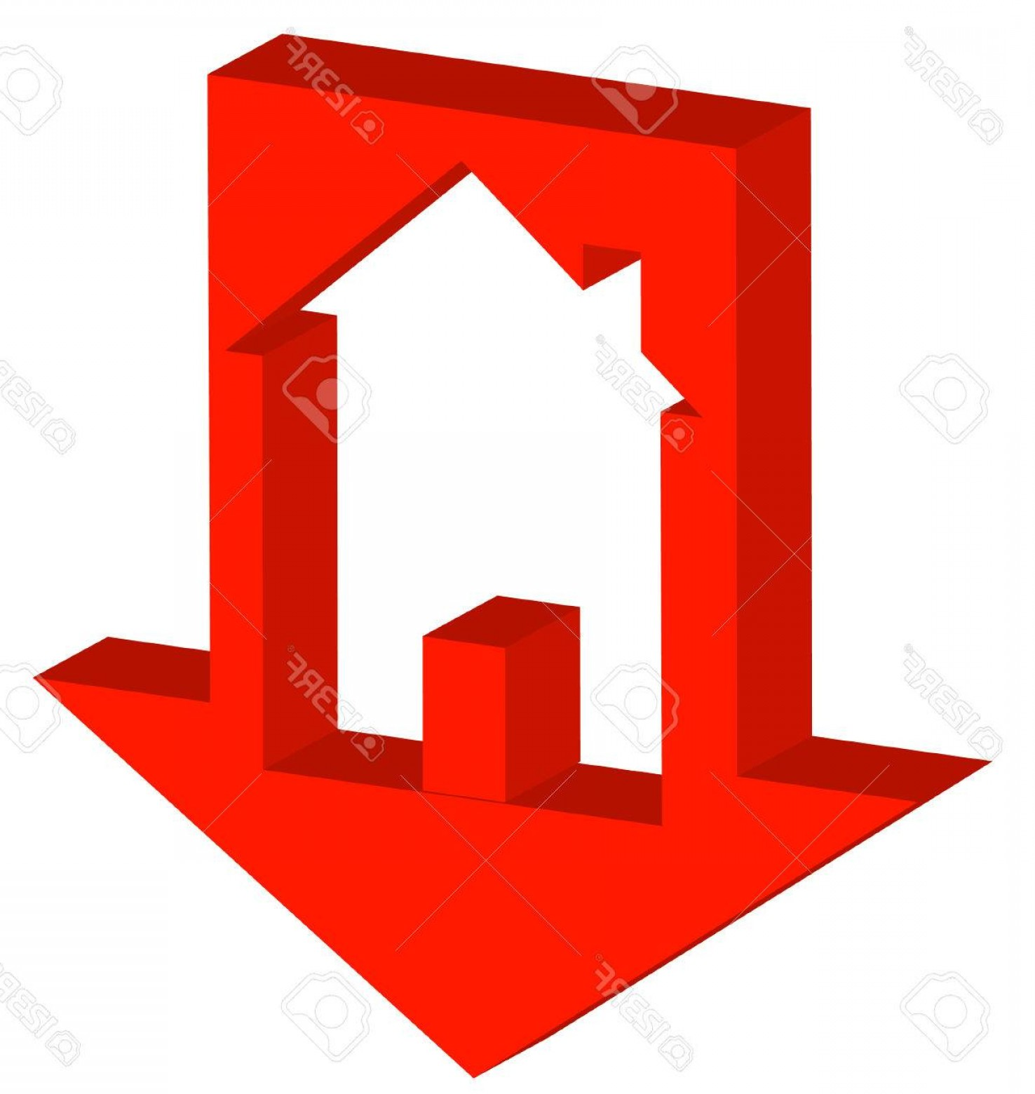 Equal Housing Vector: Photod Red Down Arrow With House Inside Crashing Housing Market Vector