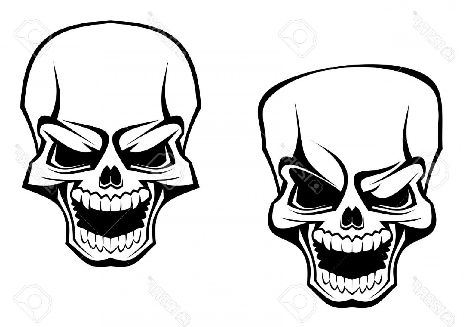 Cool Skull Vector: Photodanger Skull As A Warning Or Evil Concept