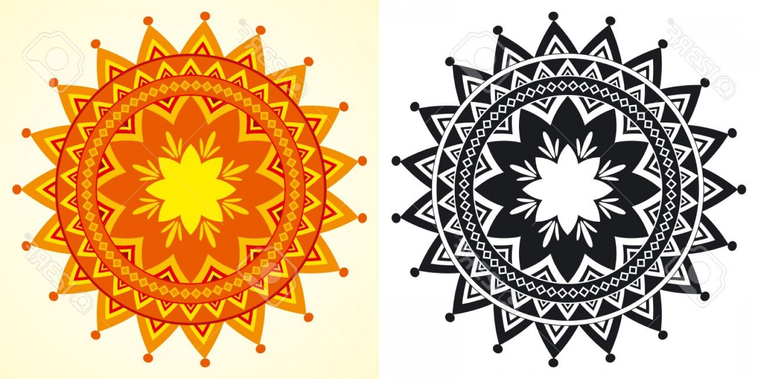 Geometric Sun Vector: Photodecorative Vector Sun Shaped Rosettes In Black And White And Color