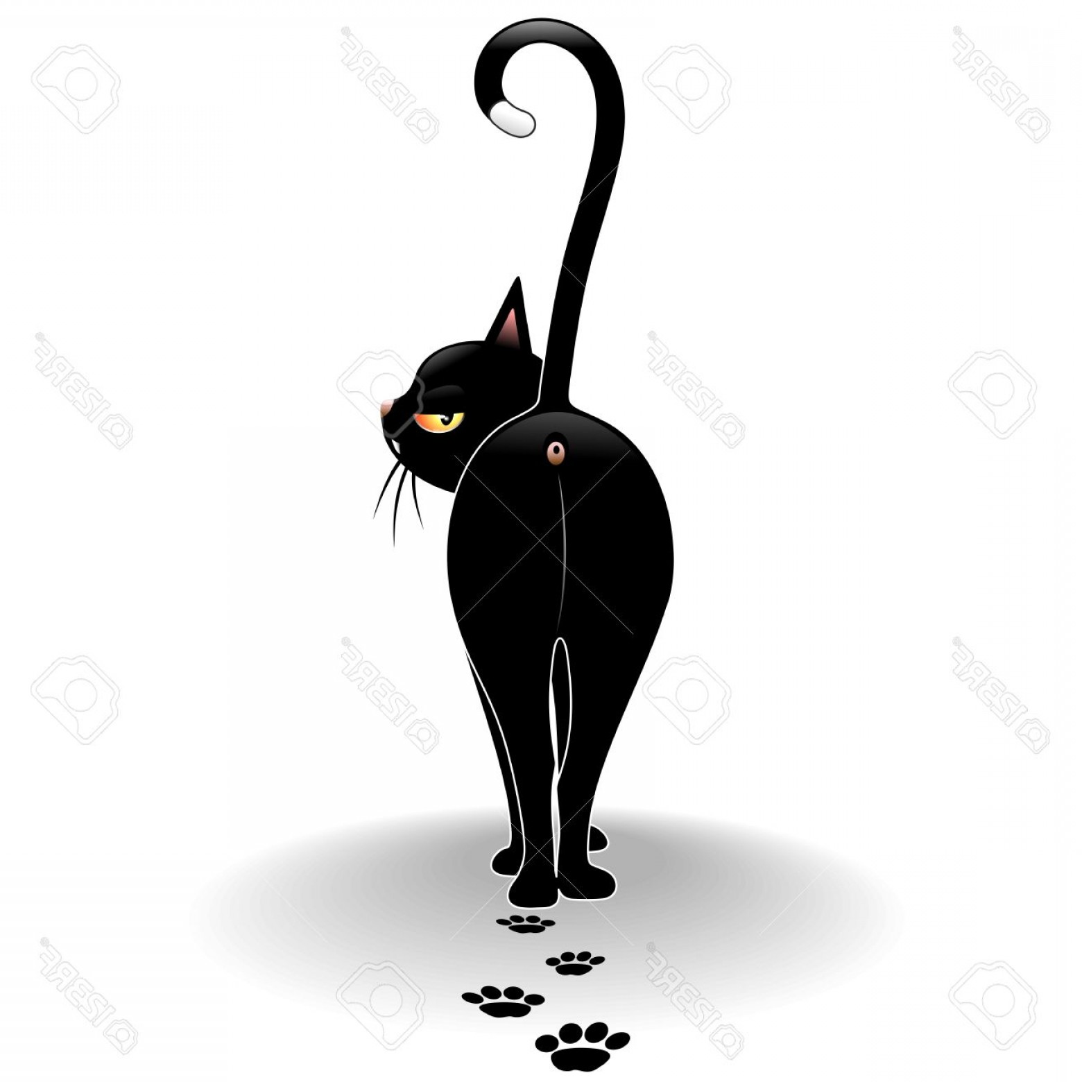 Walking Away Vector: Photodisdainful Black Cat Cartoon Walking Away