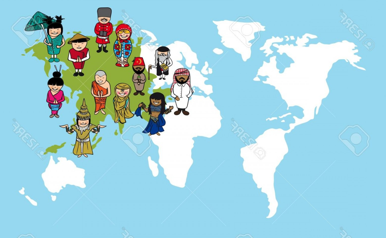 Asia Continent Map Vector: Photodiversity Concept World Map Cartoon People Over Asia Continent