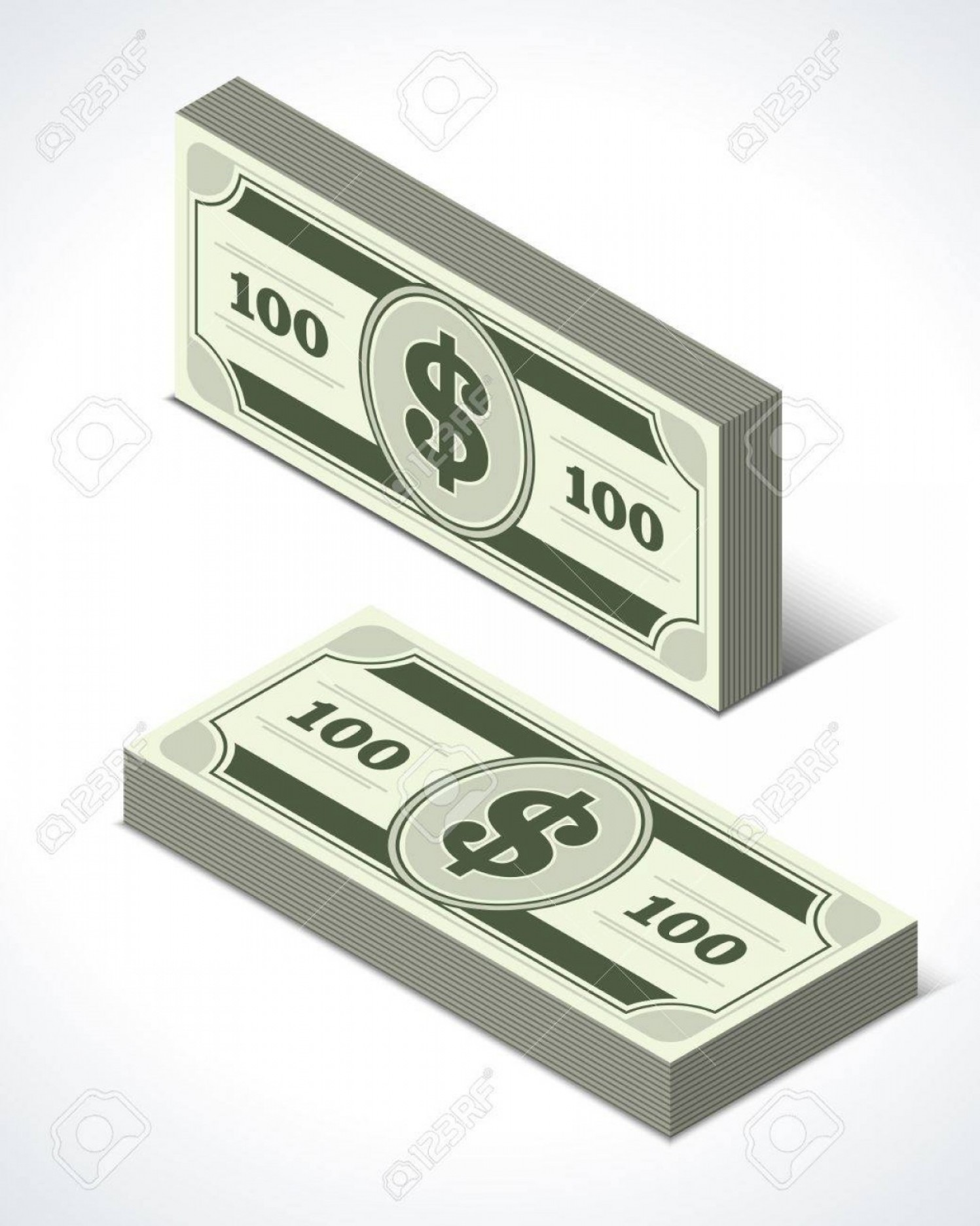 Perspective Vector: Photodollars Money Isometric Perspective Vector Design Elements
