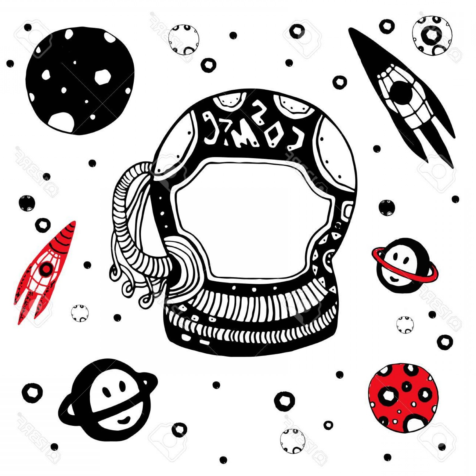 Cosmic Vector Imige: Photodoodle Astronomical Objects Set Hand Drawn Cosmic Vector Illustration