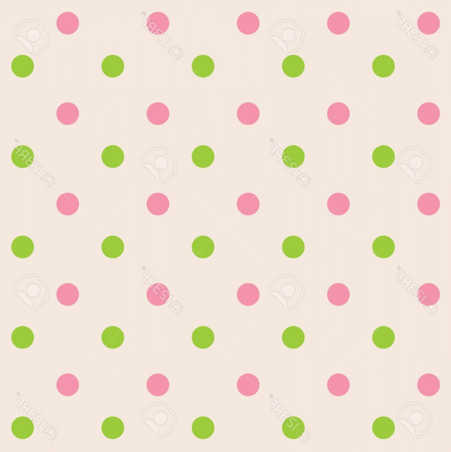 Polka Dot Background Vector Y: Photodots Cream Pink Green Seamless Pattern