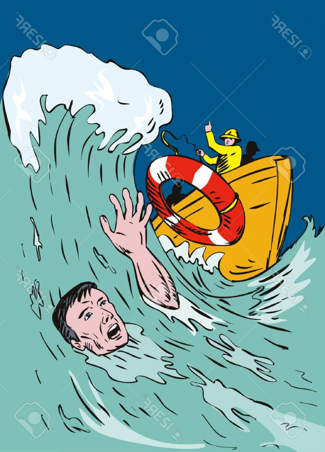 Man Drowning Vector: Photodrowning Man Being Thrown A Lifeline