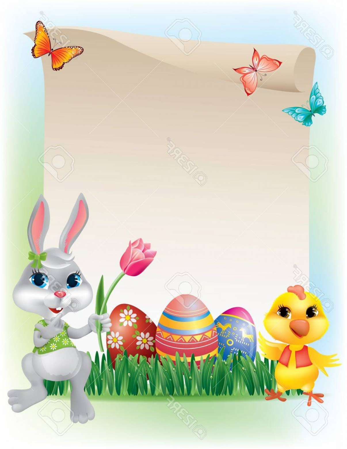 Easter Vector Art No Background: Photoeaster Background With Bunny And Chicken Contains Transparent Objects