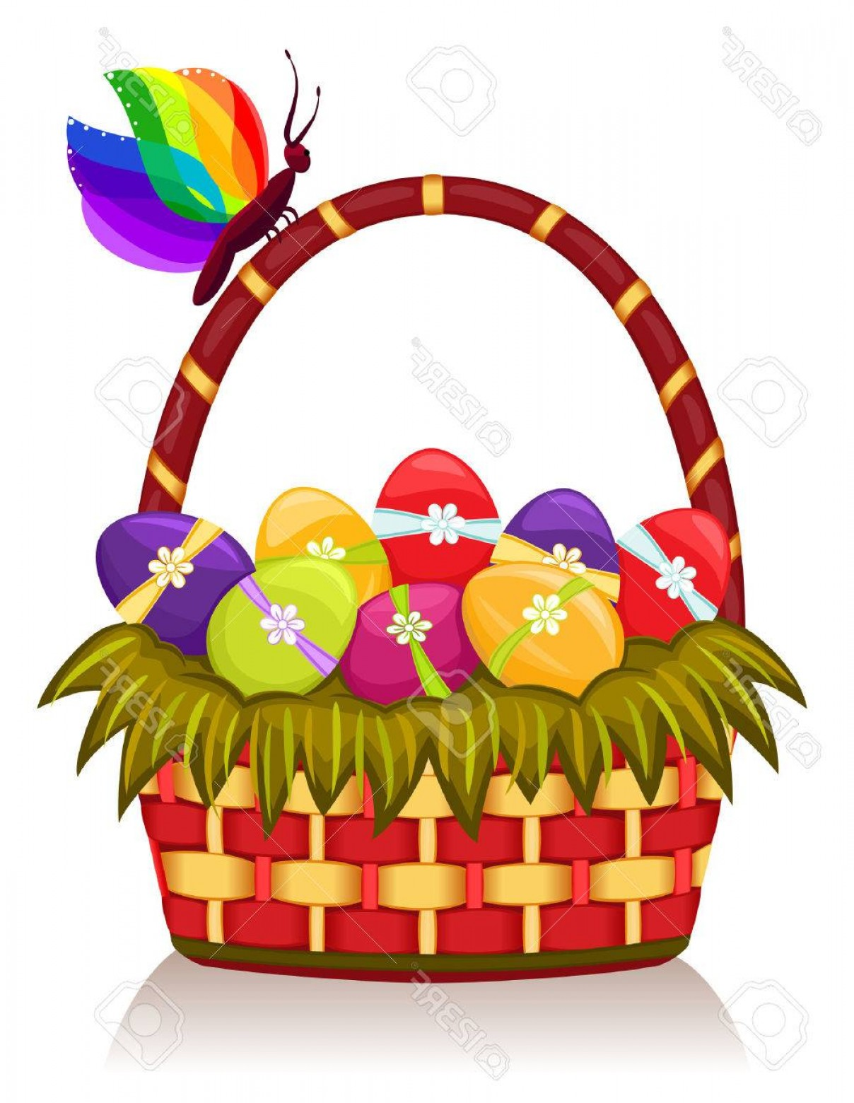 Vector Easter Egg Basket: Photoeaster Basket With Decorated Eggs Vector Eps Ai