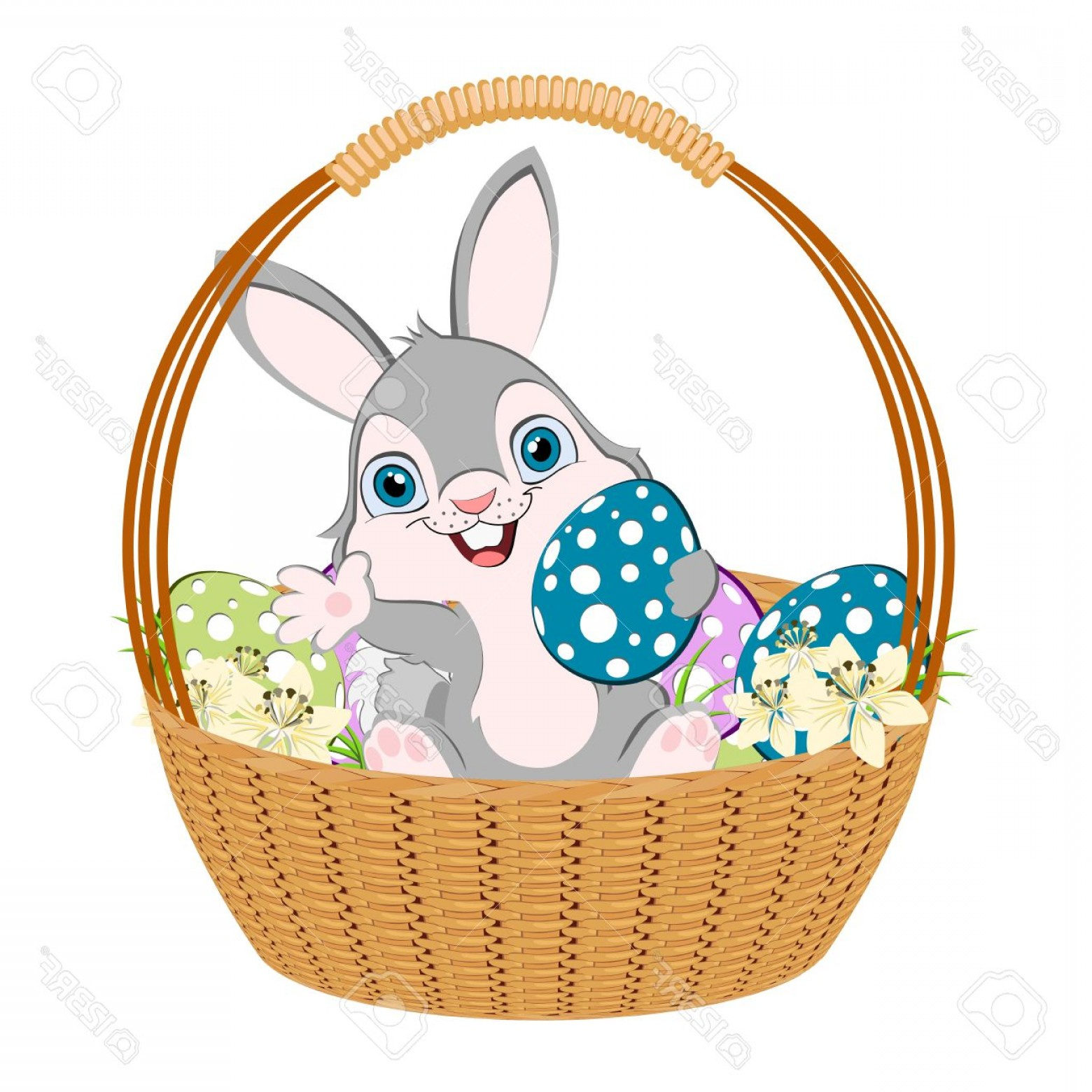 Vector Easter Egg Basket: Photoeaster Bunny In A Basket Width Eggs And Flowers